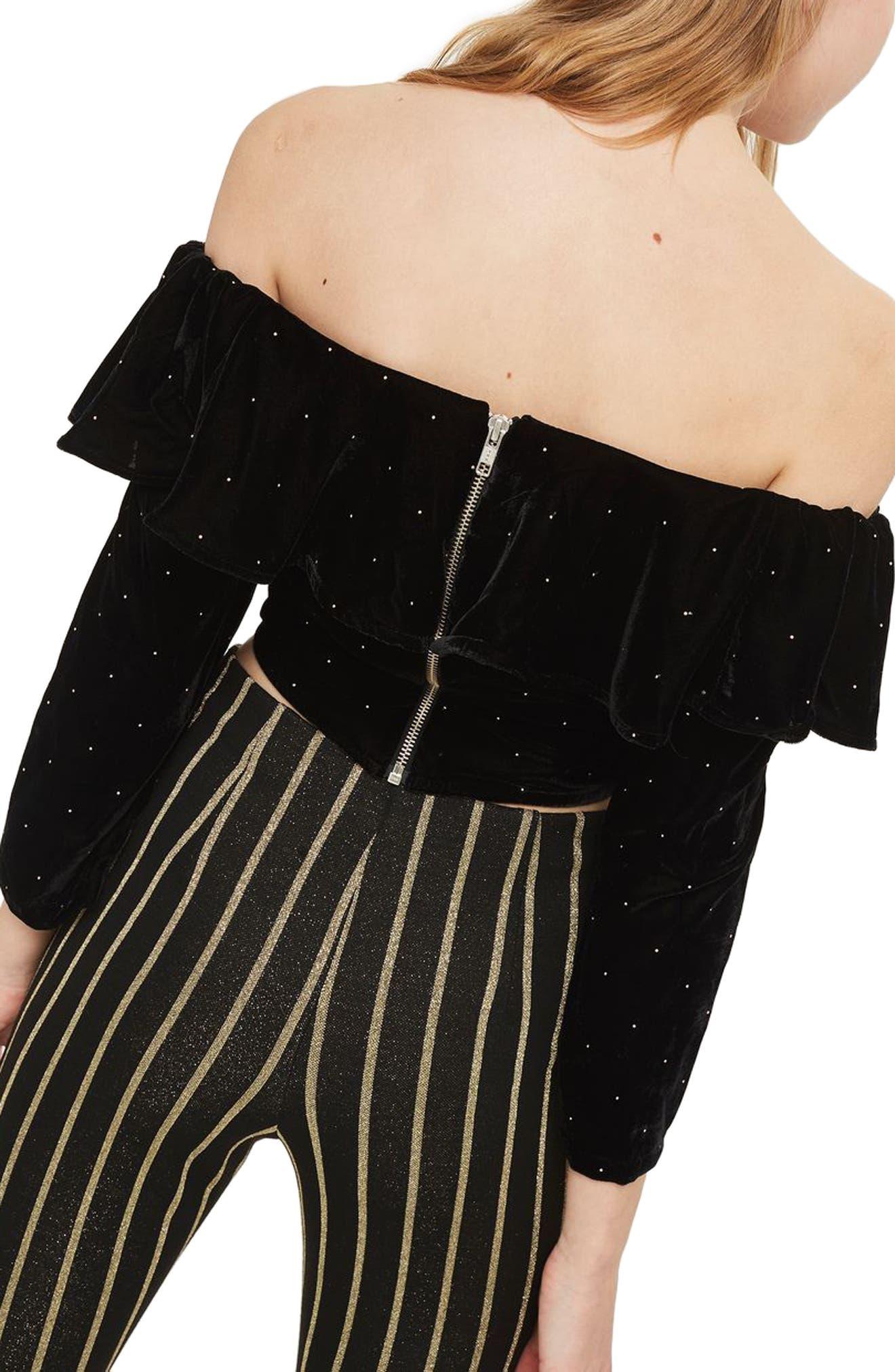 Alternate Image 3  - Topshop Studded Off the Shoulder Velvet Top