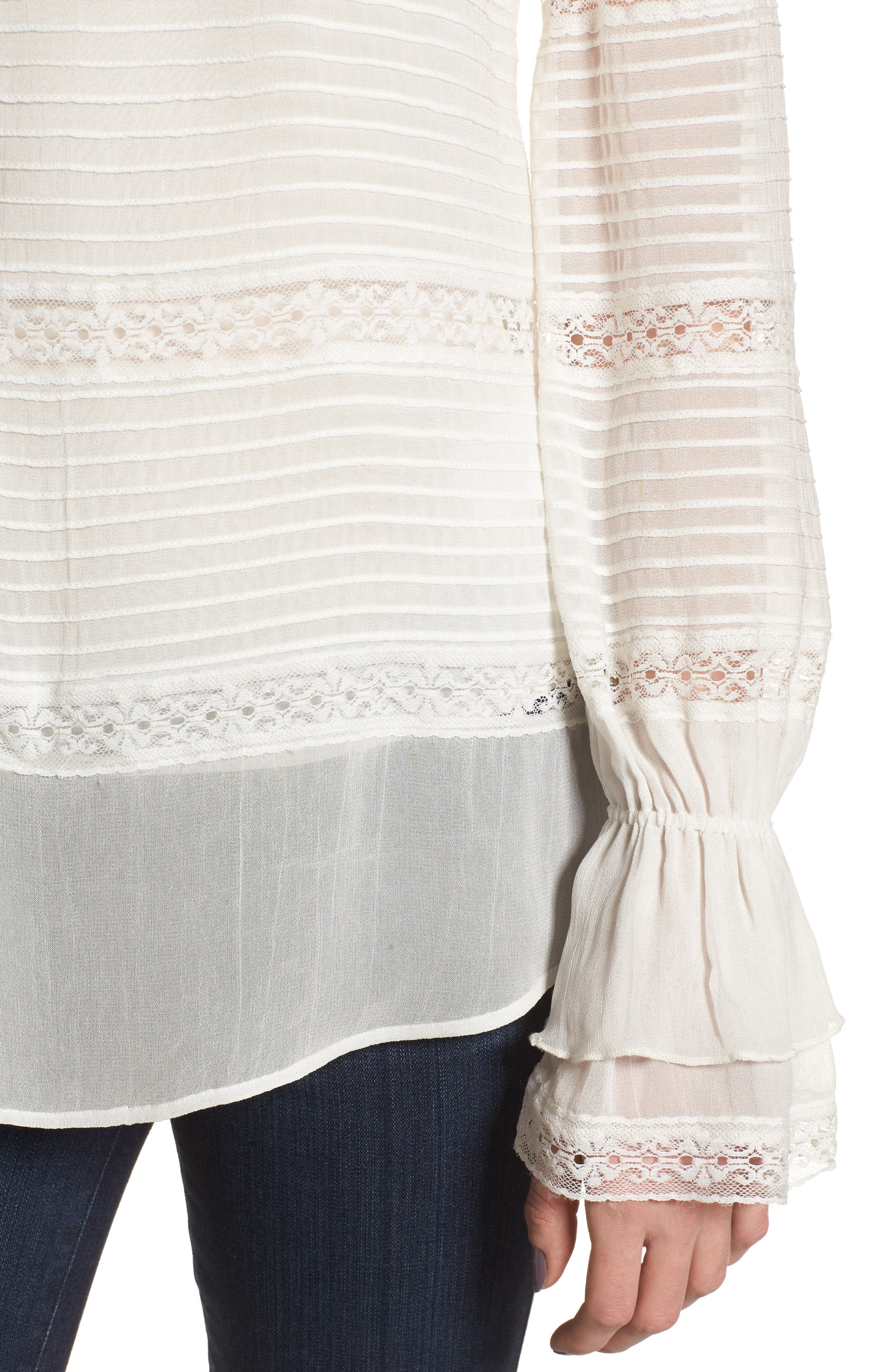 Pintuck & Lace Top,                             Alternate thumbnail 4, color,                             Ivory Cloud