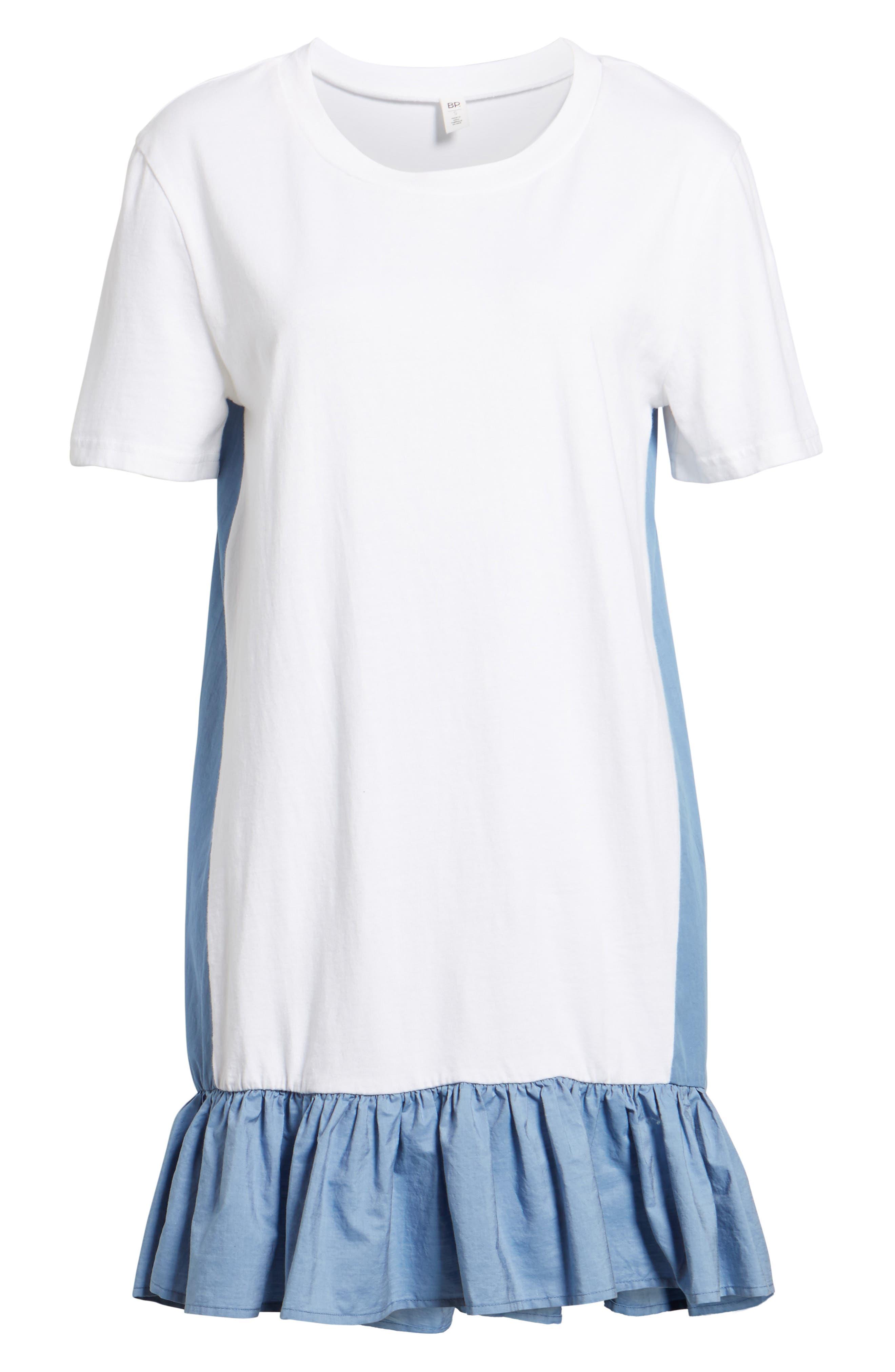 Mixed Media T-Shirt Dress,                             Alternate thumbnail 6, color,                             White
