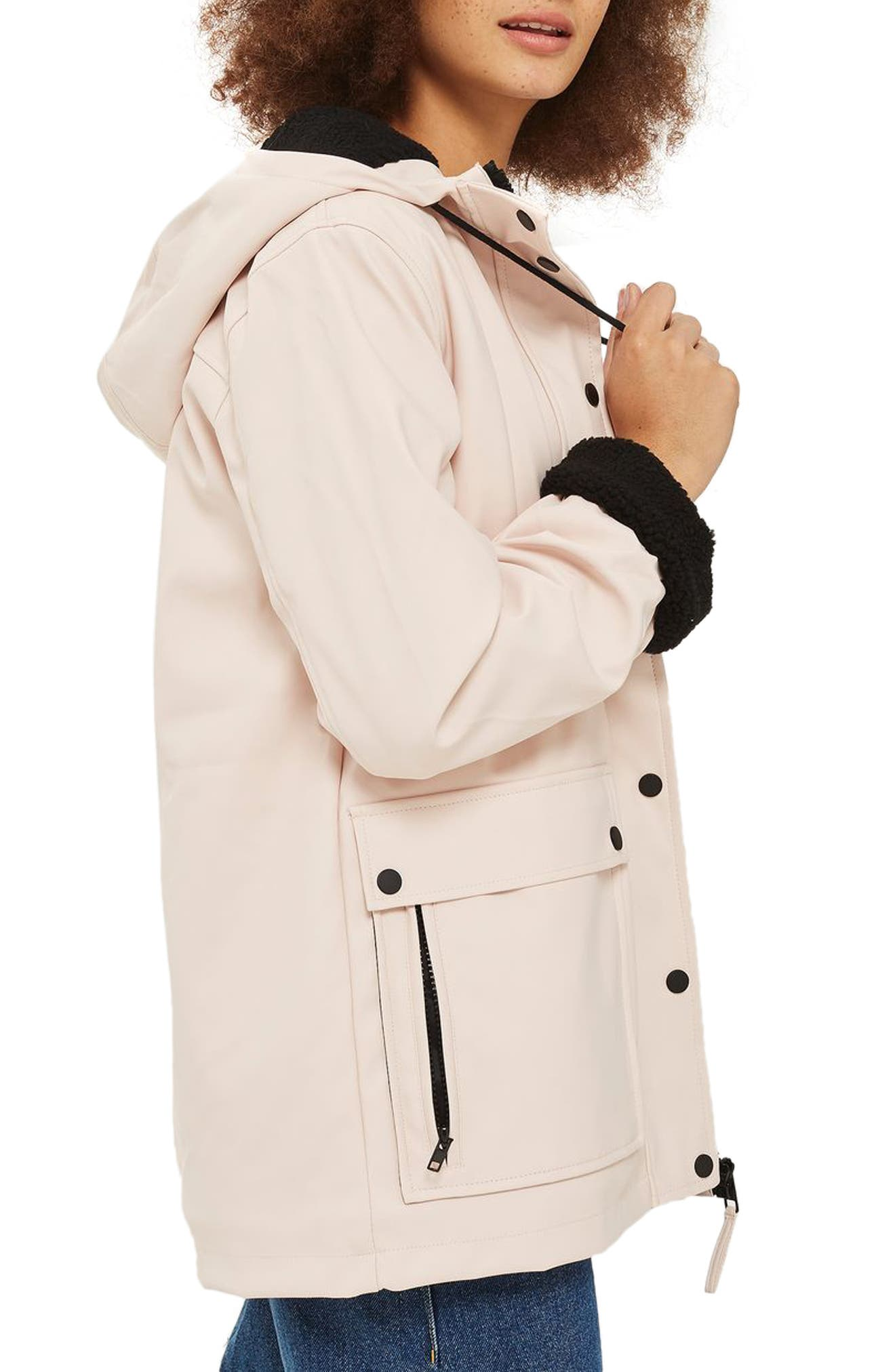 Hooded Raincoat,                             Alternate thumbnail 3, color,                             Light Pink Multi