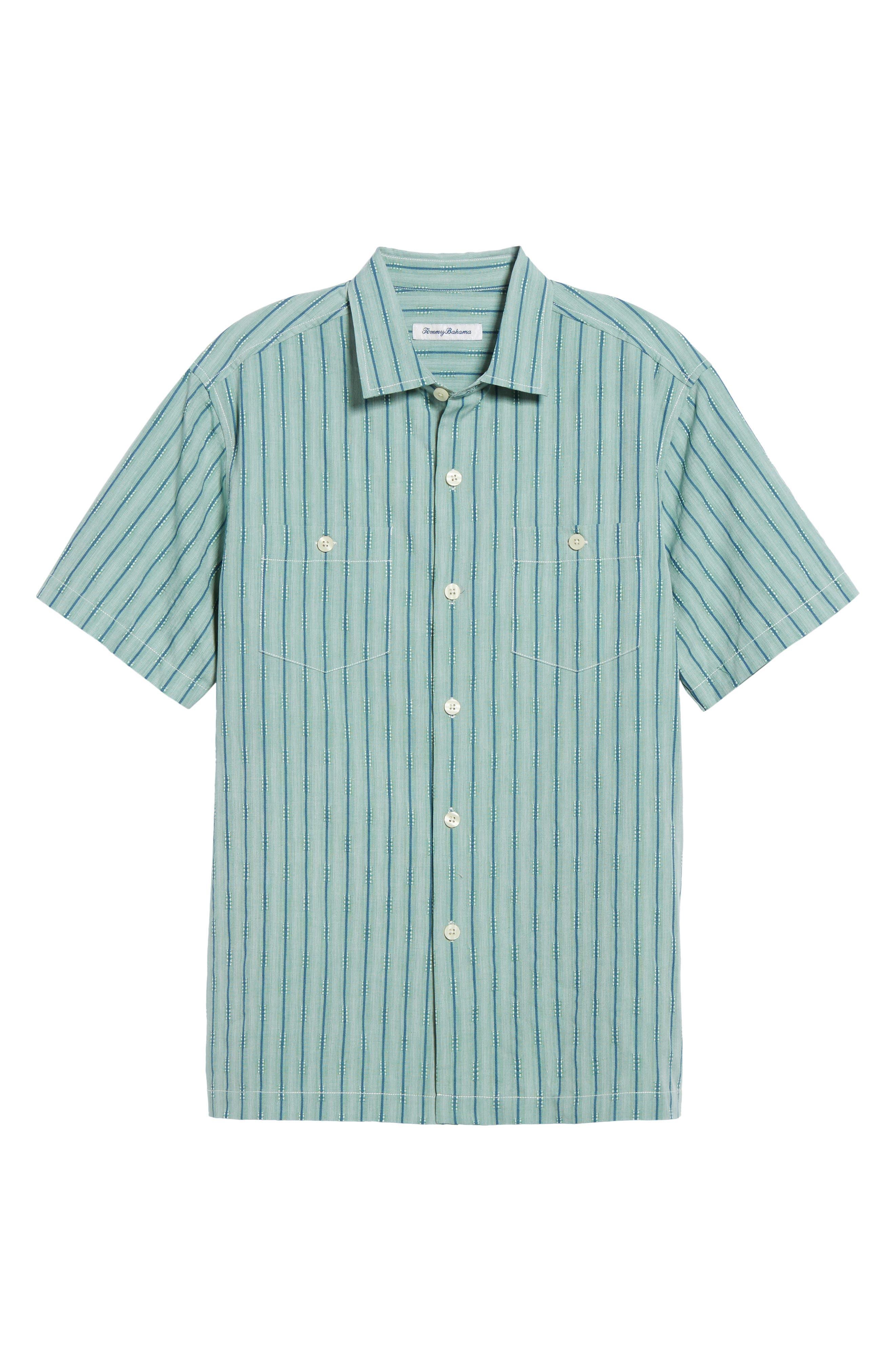 Florida Geometric Line Silk Blend Camp Shirt,                             Alternate thumbnail 6, color,                             Deep Grass Green