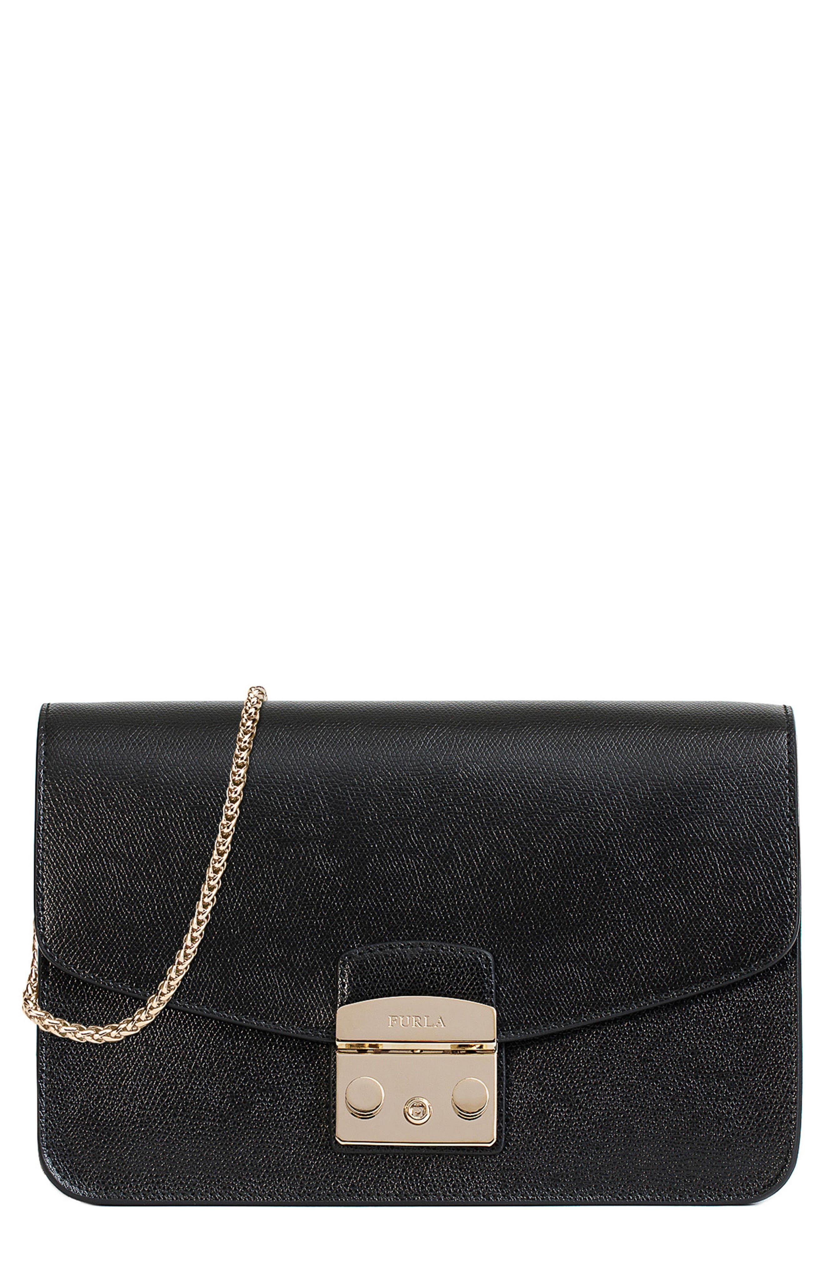 Small Metropolis Leather Crossbody Bag,                             Main thumbnail 1, color,                             Onyx