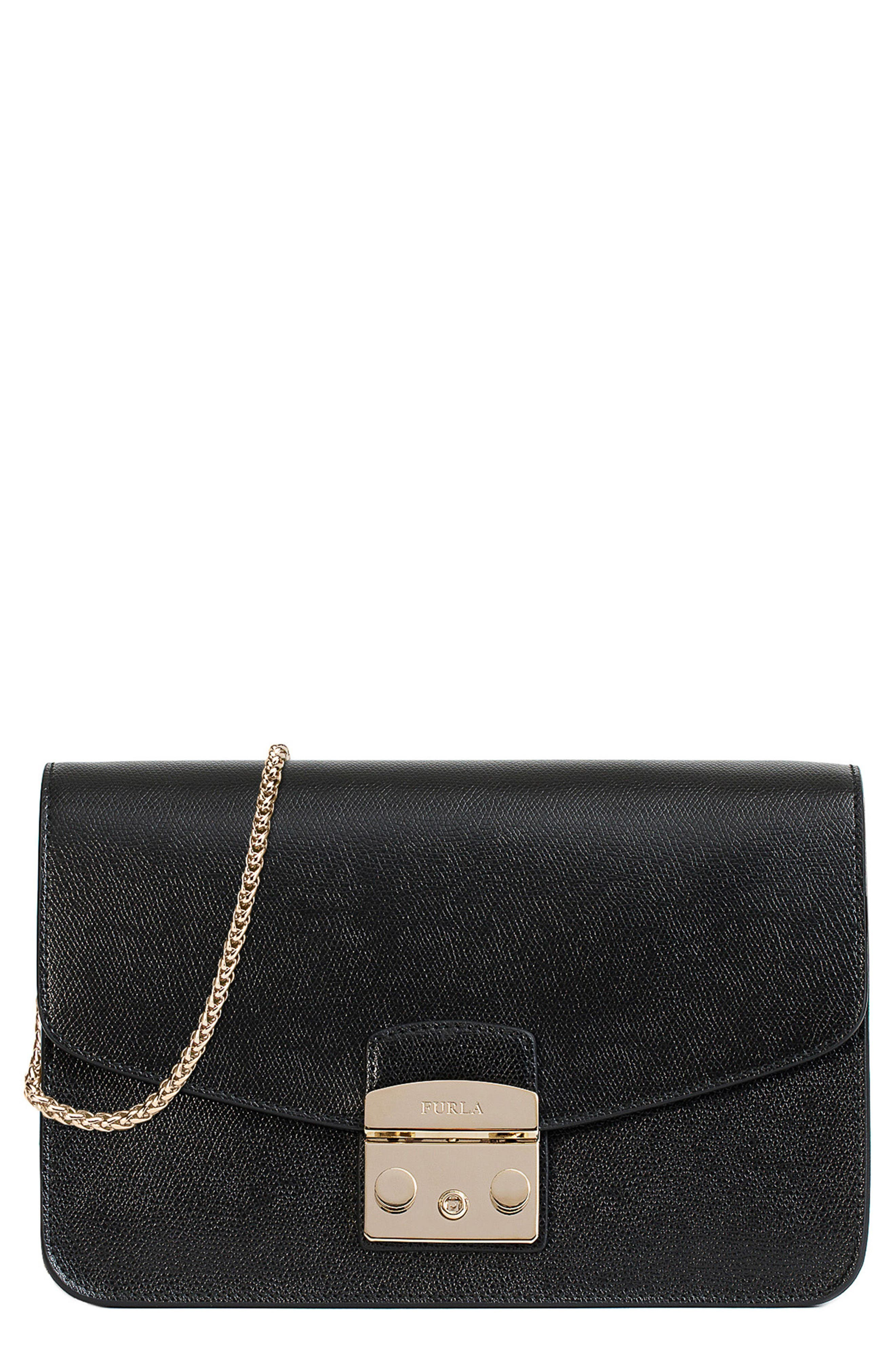 Small Metropolis Leather Crossbody Bag,                         Main,                         color, Onyx