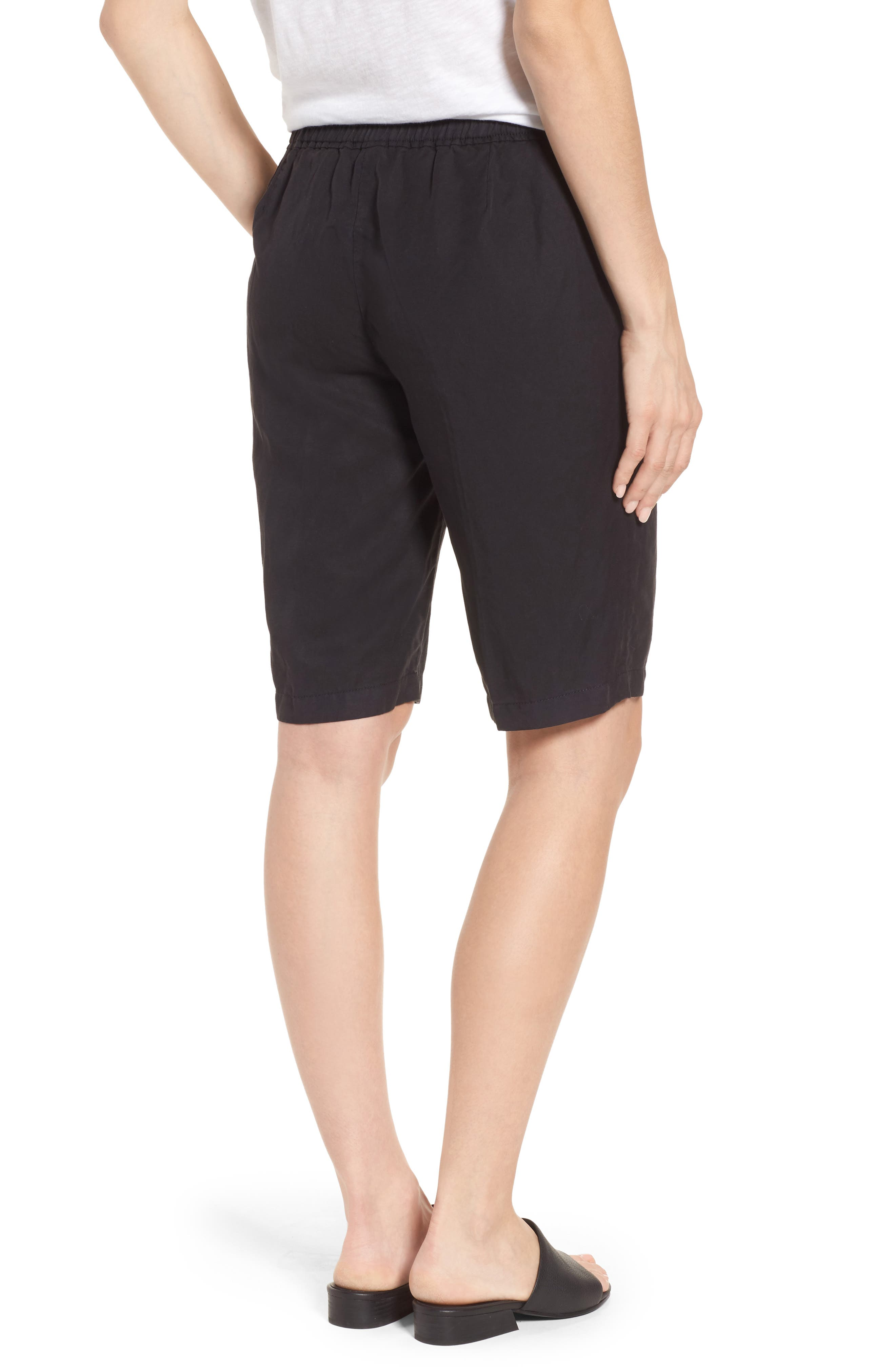 Tencel<sup>®</sup> Lyocell & Linen Walking Shorts,                             Alternate thumbnail 2, color,                             Black