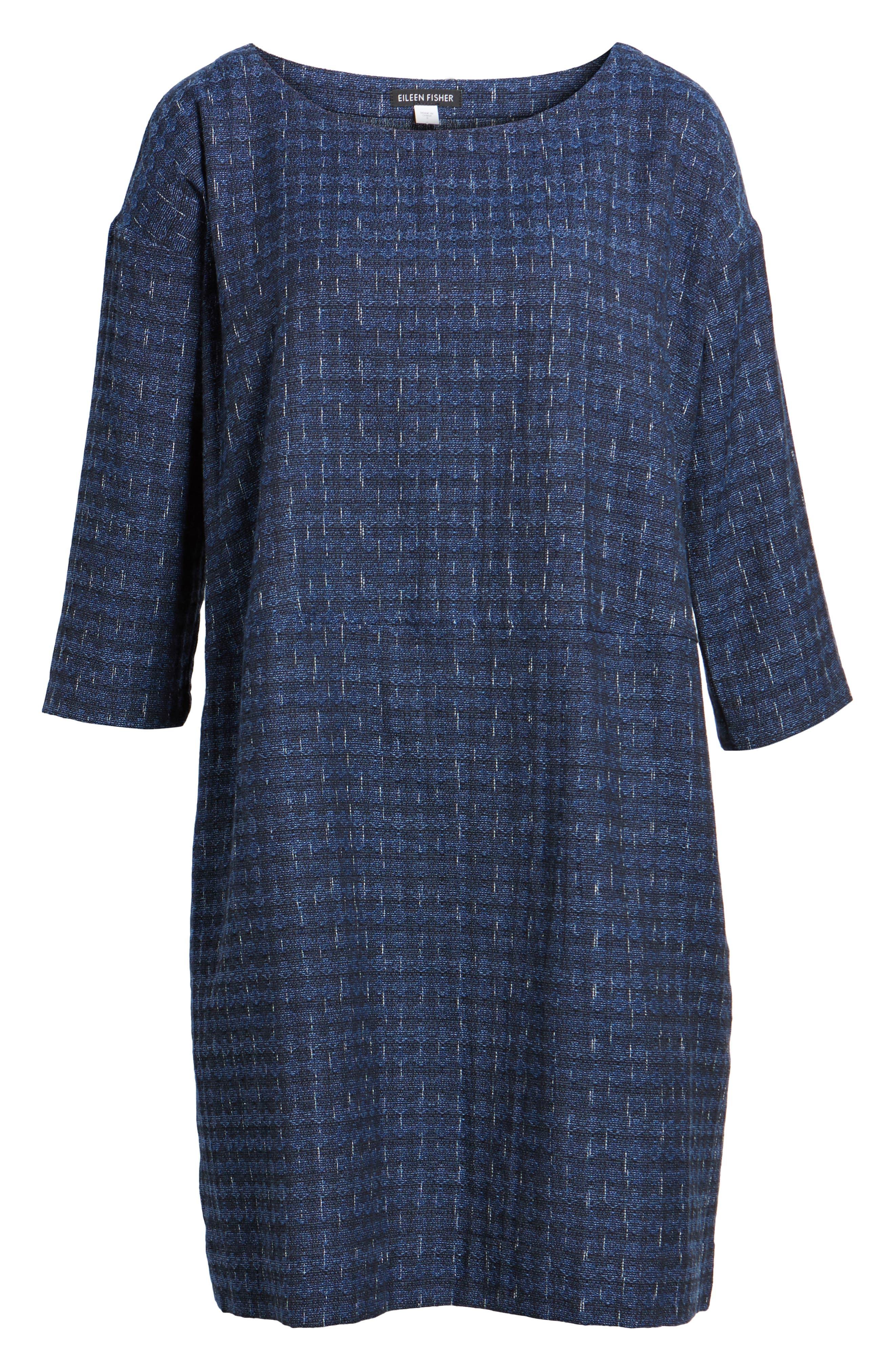 Alternate Image 6  - Eileen Fisher Organic Cotton Jacquard Shift Dress