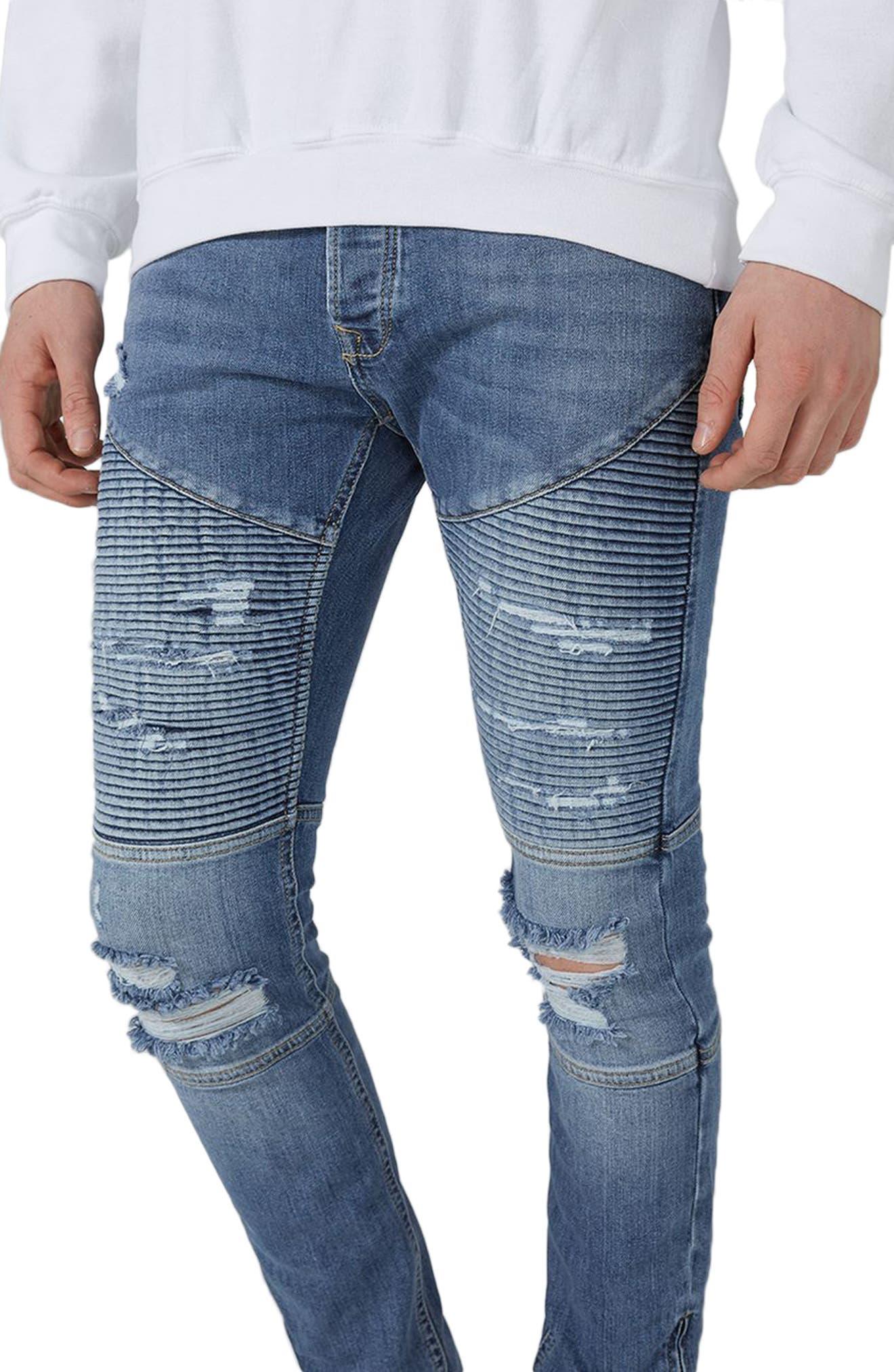 Alternate Image 3  - Topman Ripped Zip Skinny Biker Jeans
