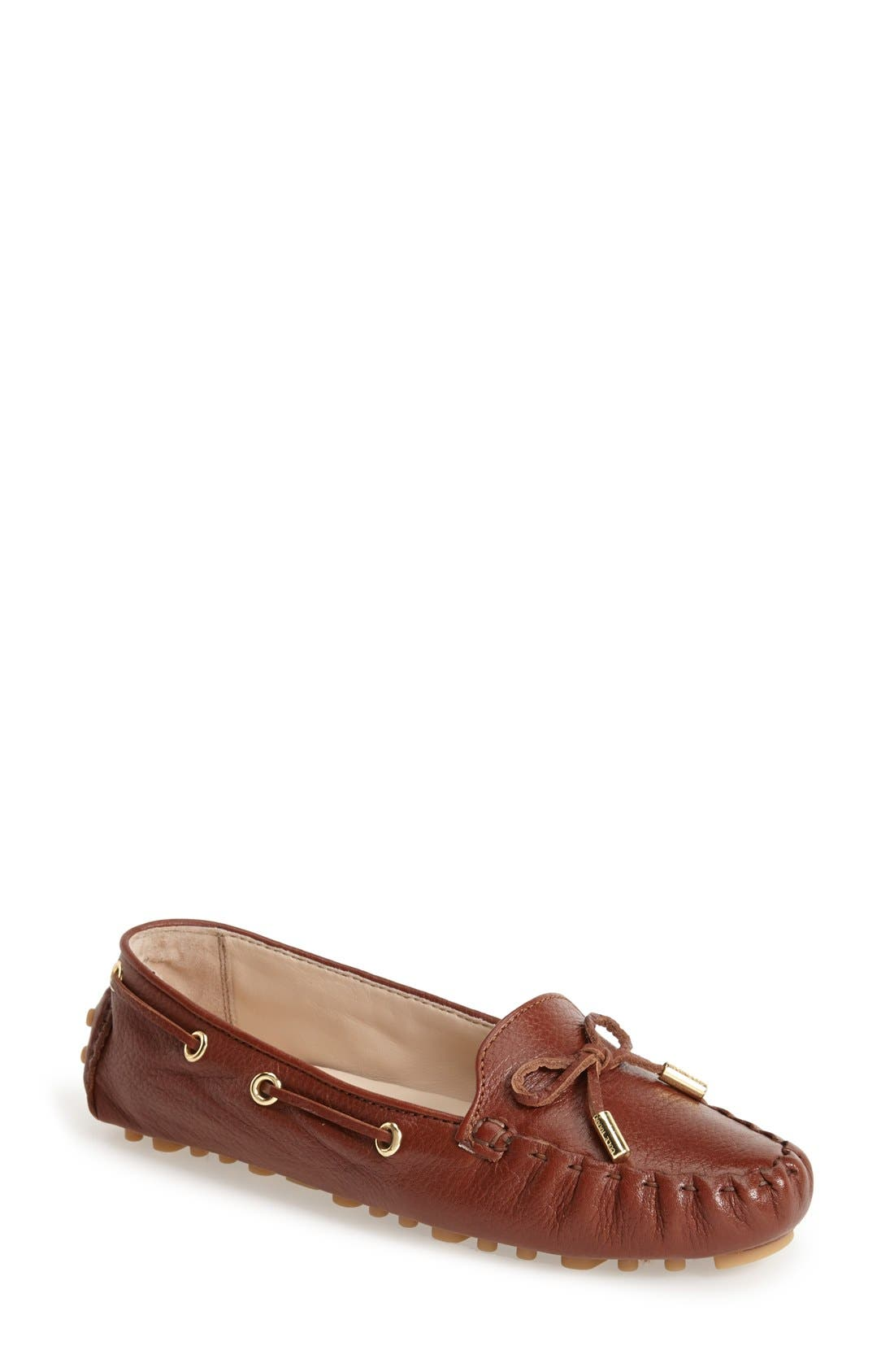 'Cary' Leather Driving Flat,                         Main,                         color, Woodbury
