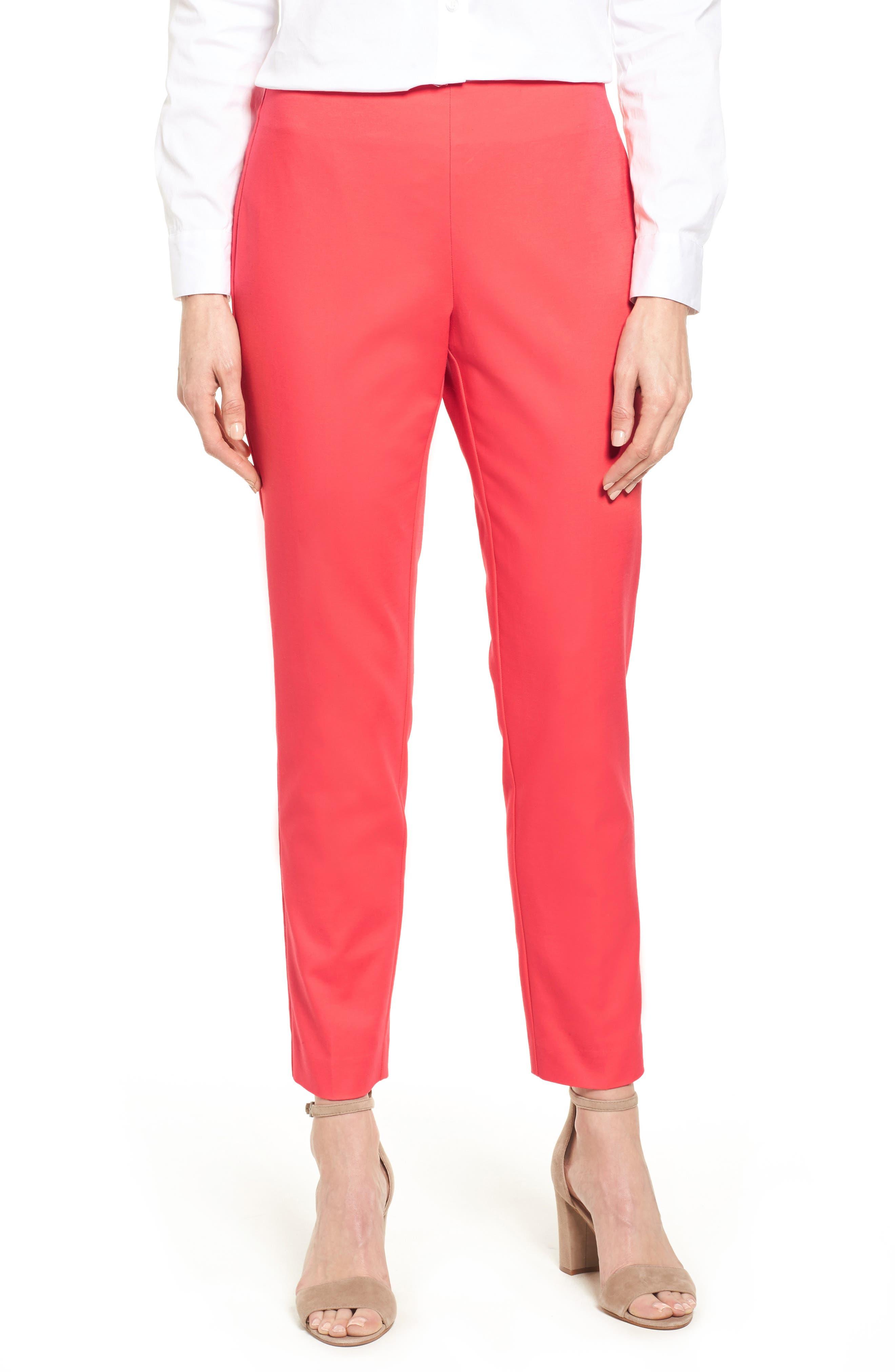 Stretch Cotton Skinny Pants,                         Main,                         color, Melon