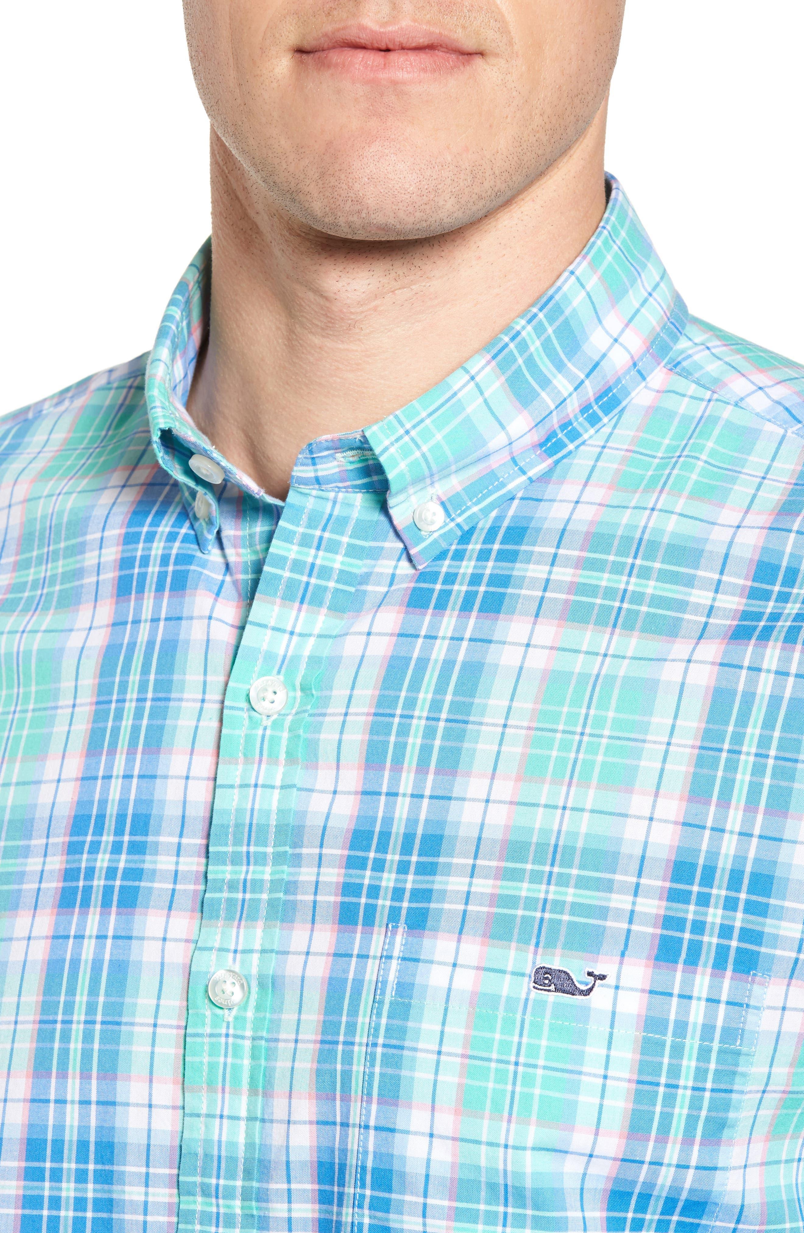 Sutherland Road Slim Fit Plaid Sport Shirt,                             Alternate thumbnail 4, color,                             Antigua Green