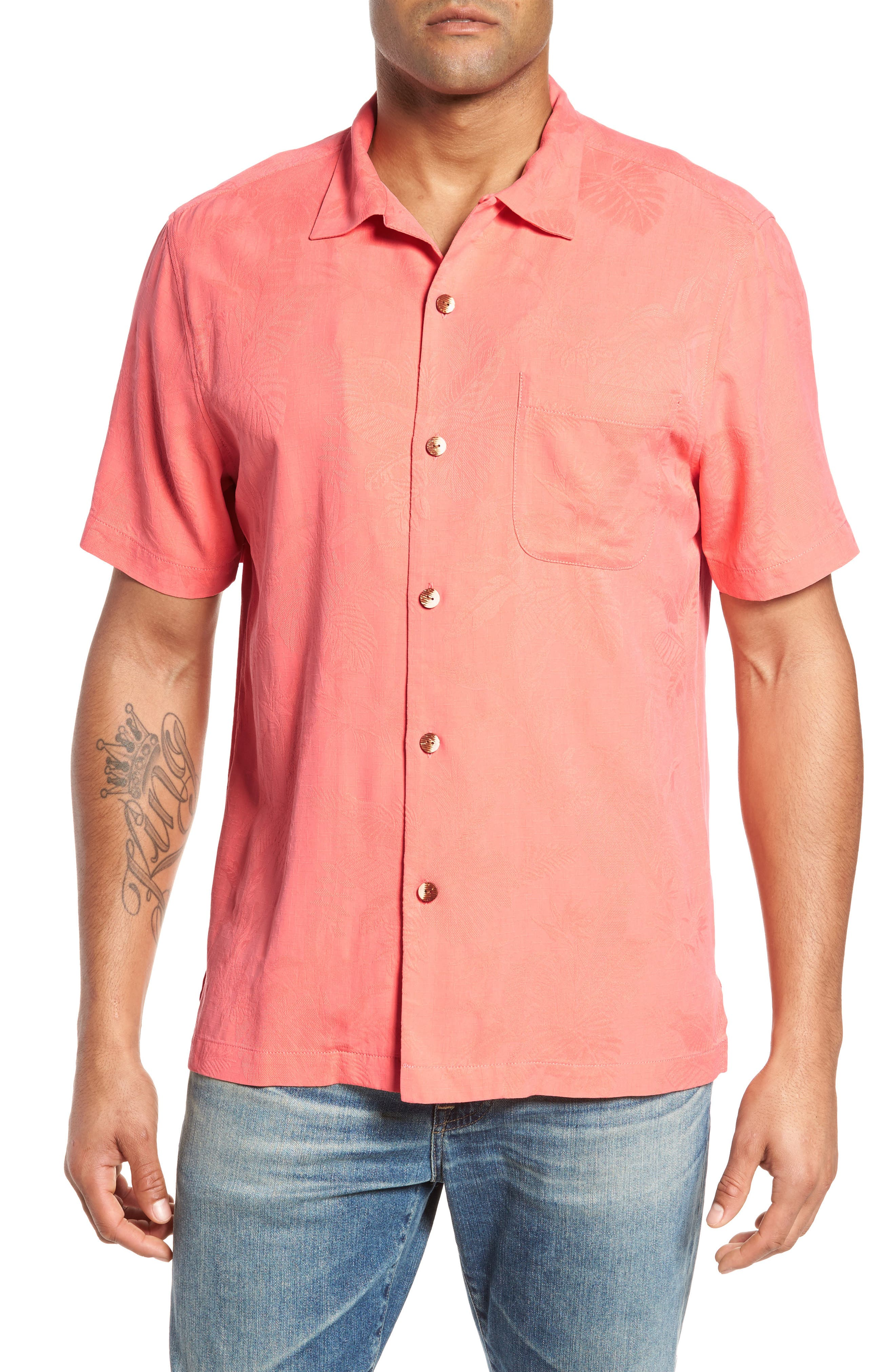 Main Image - Tommy Bahama St Lucia Fronds Silk Camp Shirt