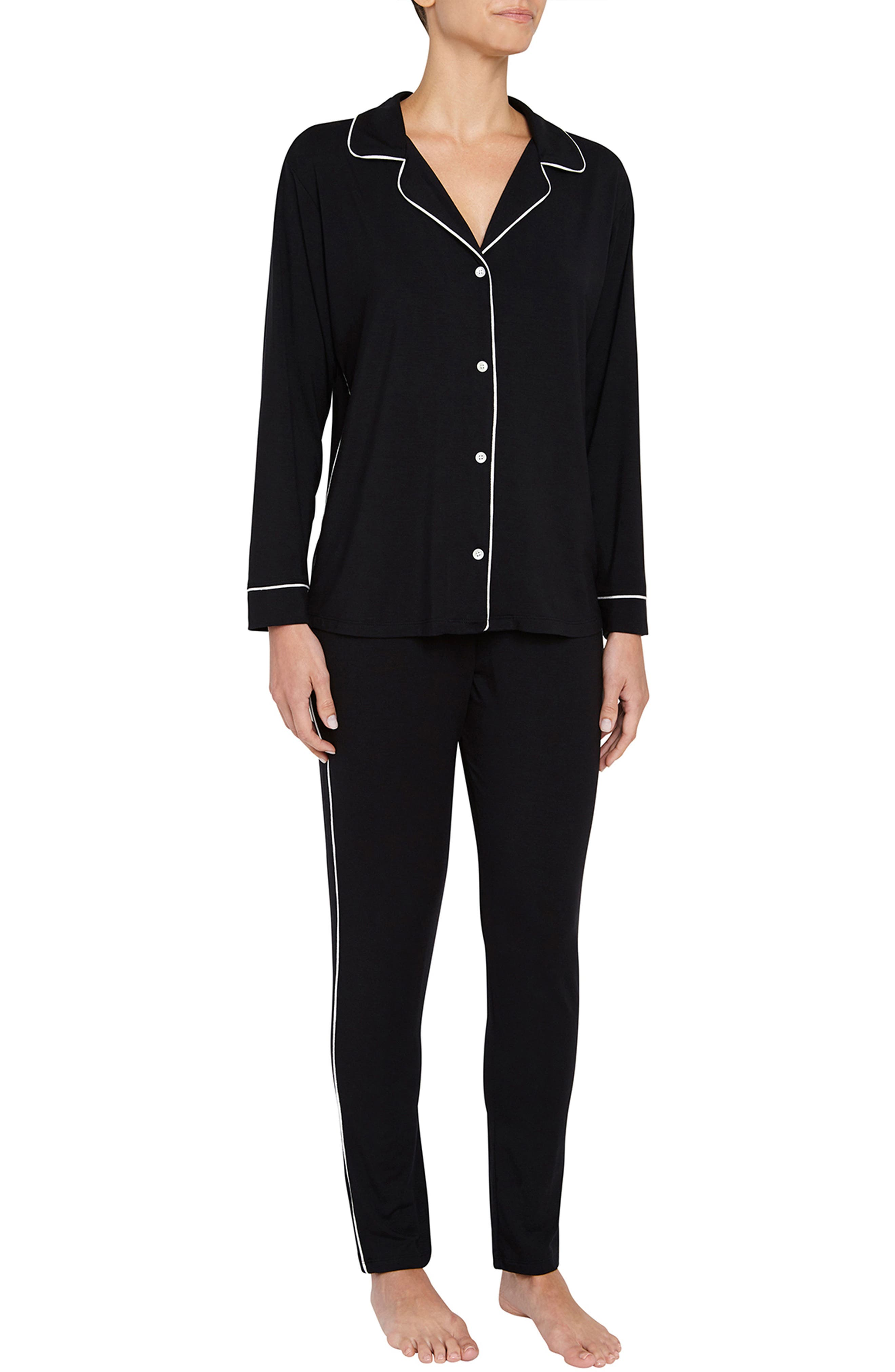 Gisele Slim Pajamas,                         Main,                         color, Black/ Ivory