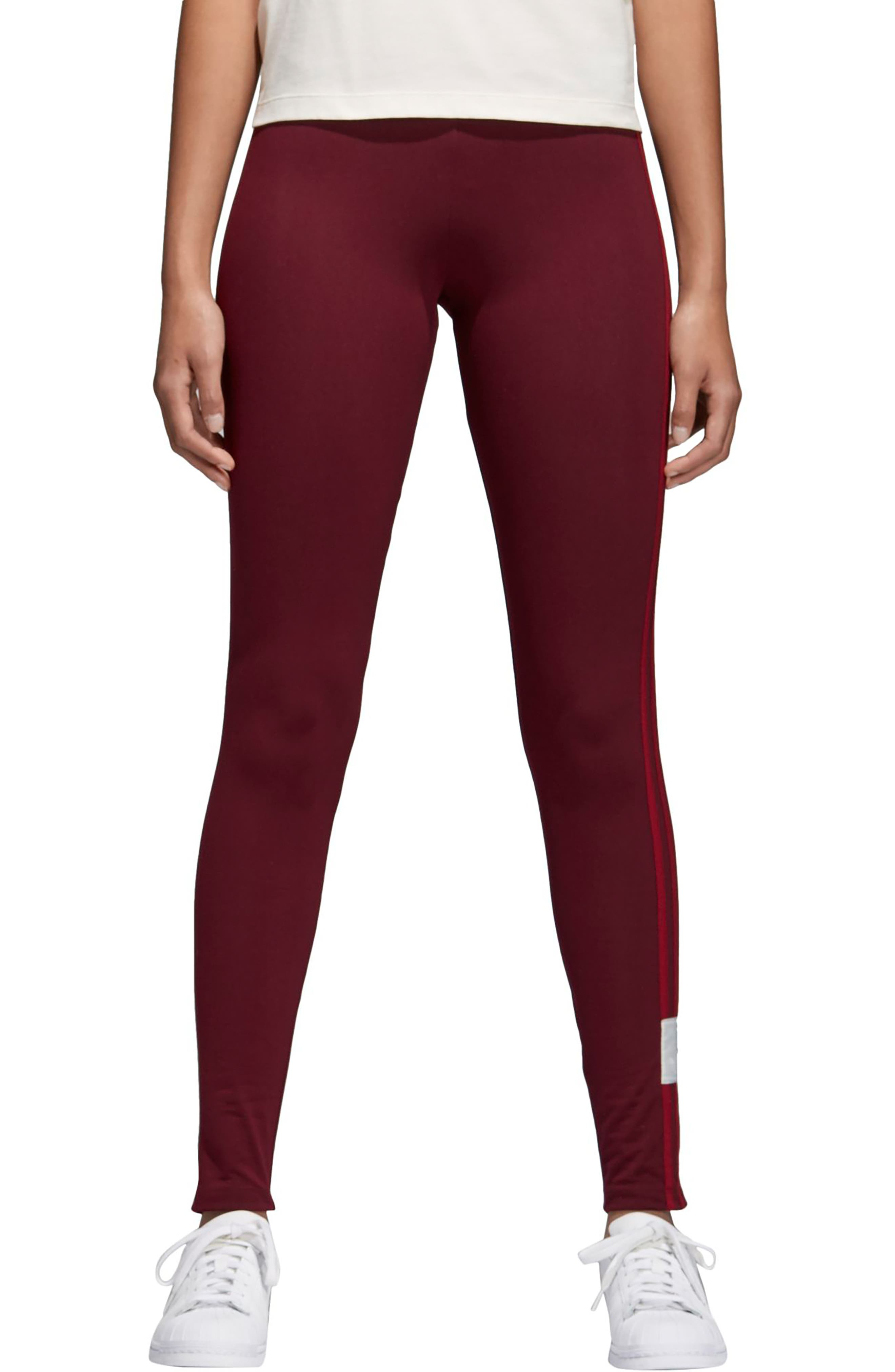 Originals Adibreak Tights,                             Main thumbnail 1, color,                             Maroon