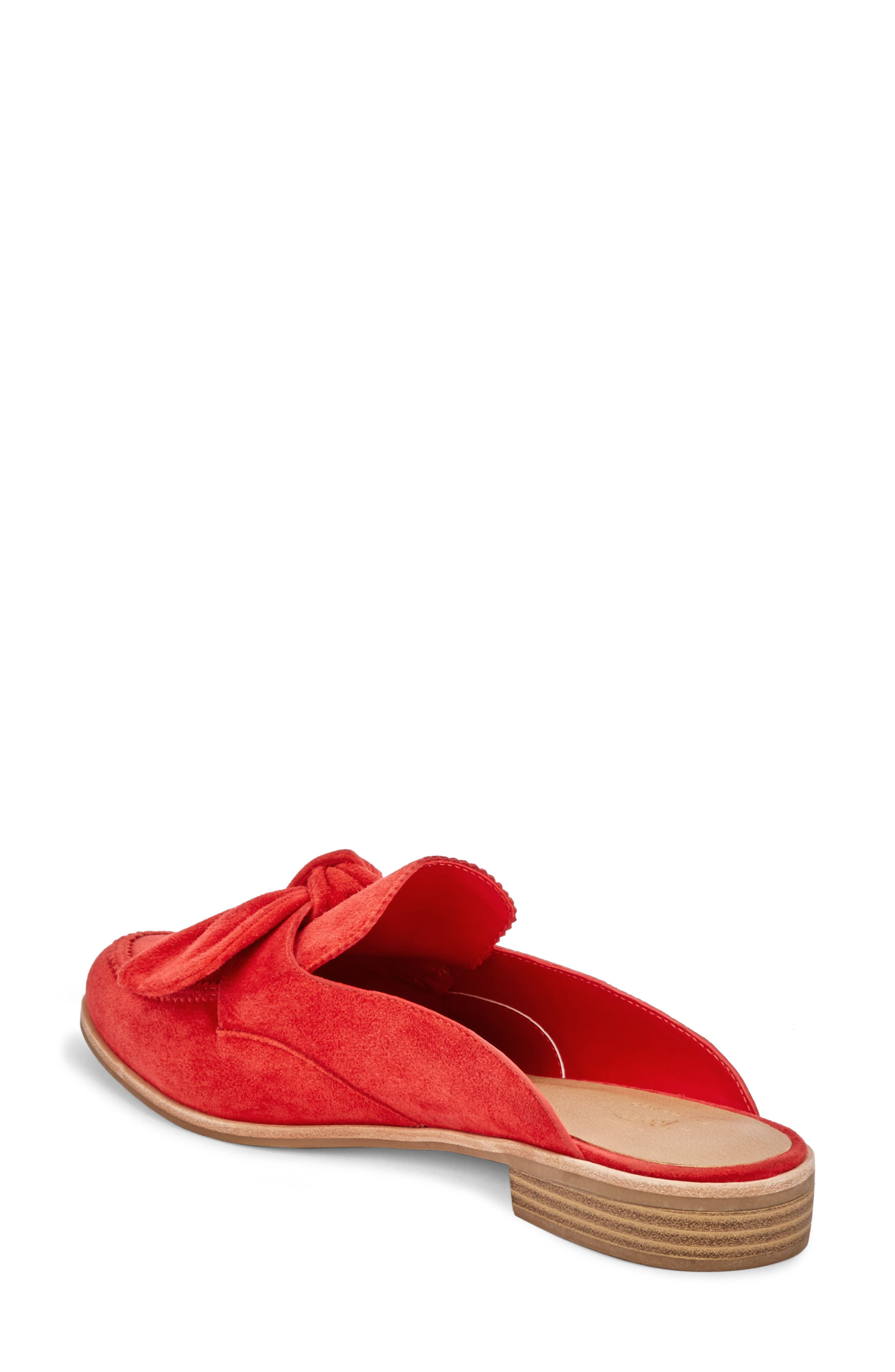 Ebbie Bow Mule,                             Alternate thumbnail 2, color,                             Red Suede