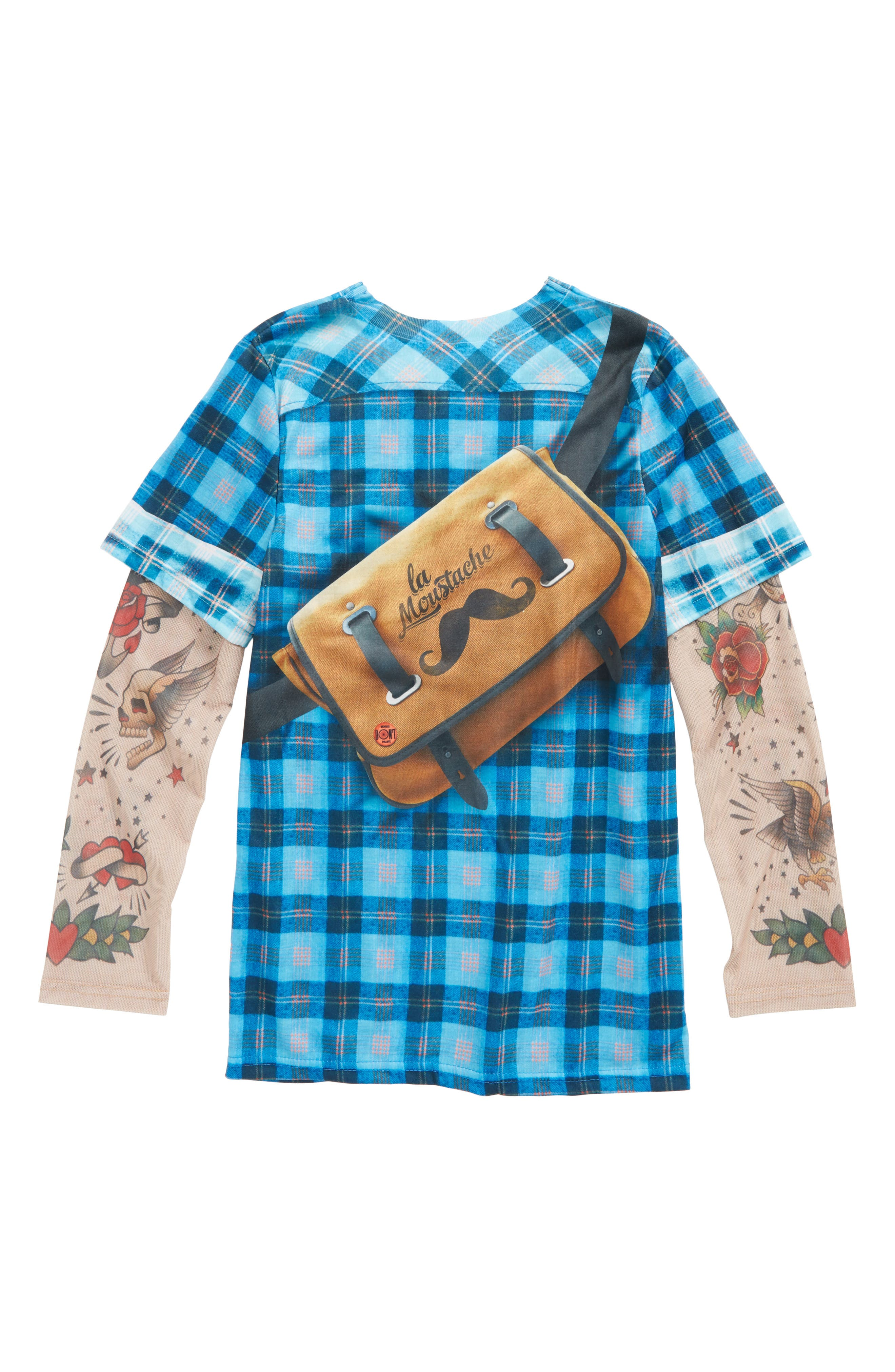 Alternate Image 2  - Faux Real Hipster Messenger Bag Print Plaid T-Shirt with Tattoo Print Sleeves (Little Boys & Big Boys)
