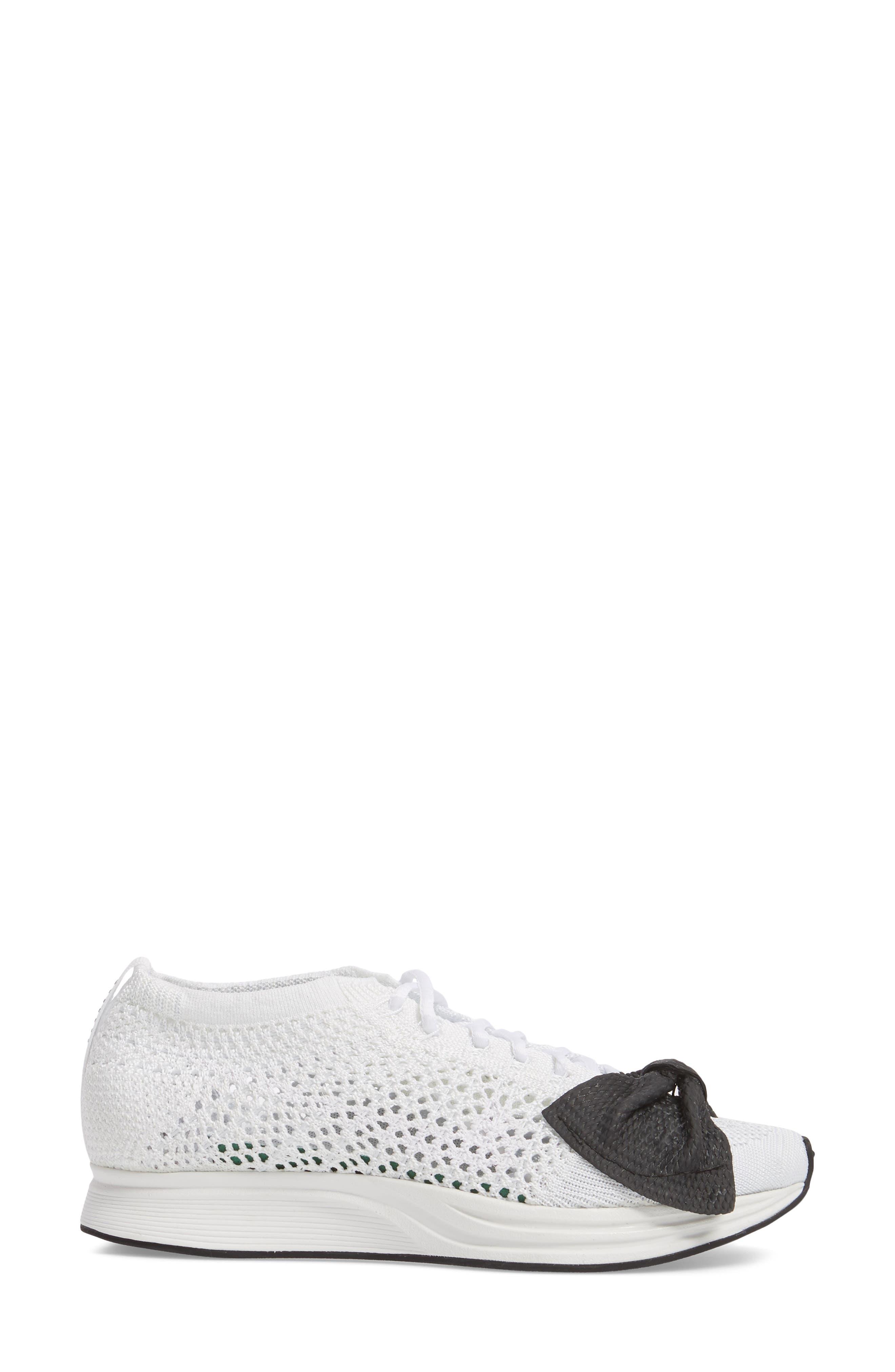 x Nike Bow Flyknit Racer Sneaker,                             Alternate thumbnail 3, color,                             White