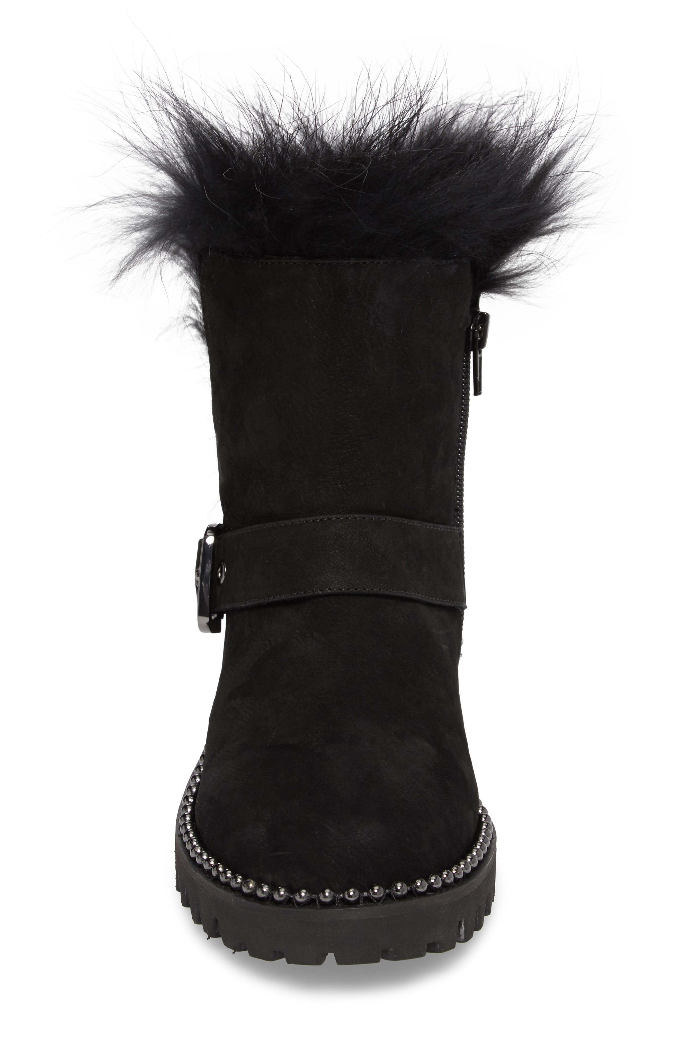 Theresa Boot with Genuine Fox Fur Trim,                             Alternate thumbnail 4, color,                             Black Suede
