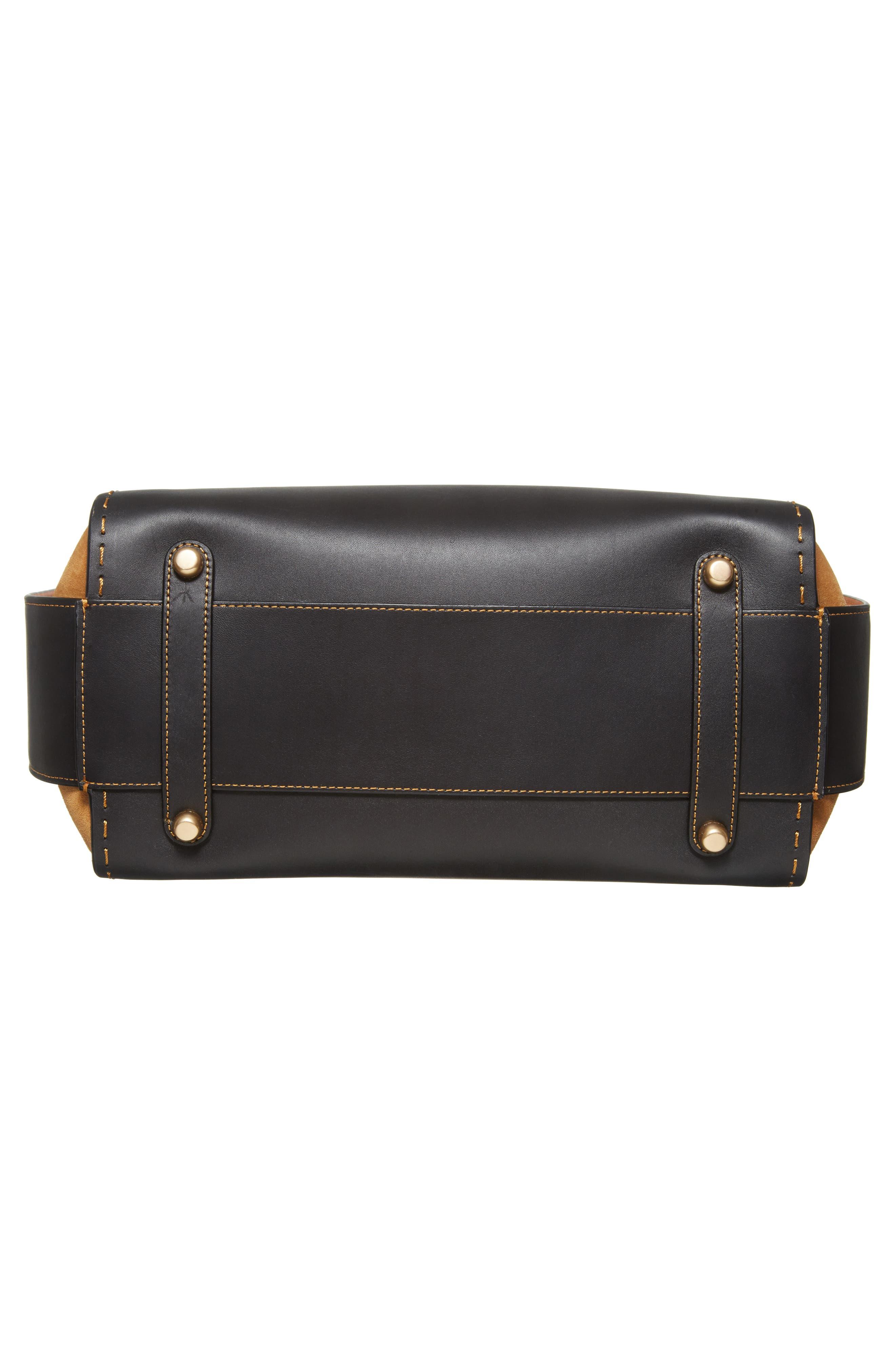Double Swagger Leather Satchel,                             Alternate thumbnail 6, color,                             Black Multi