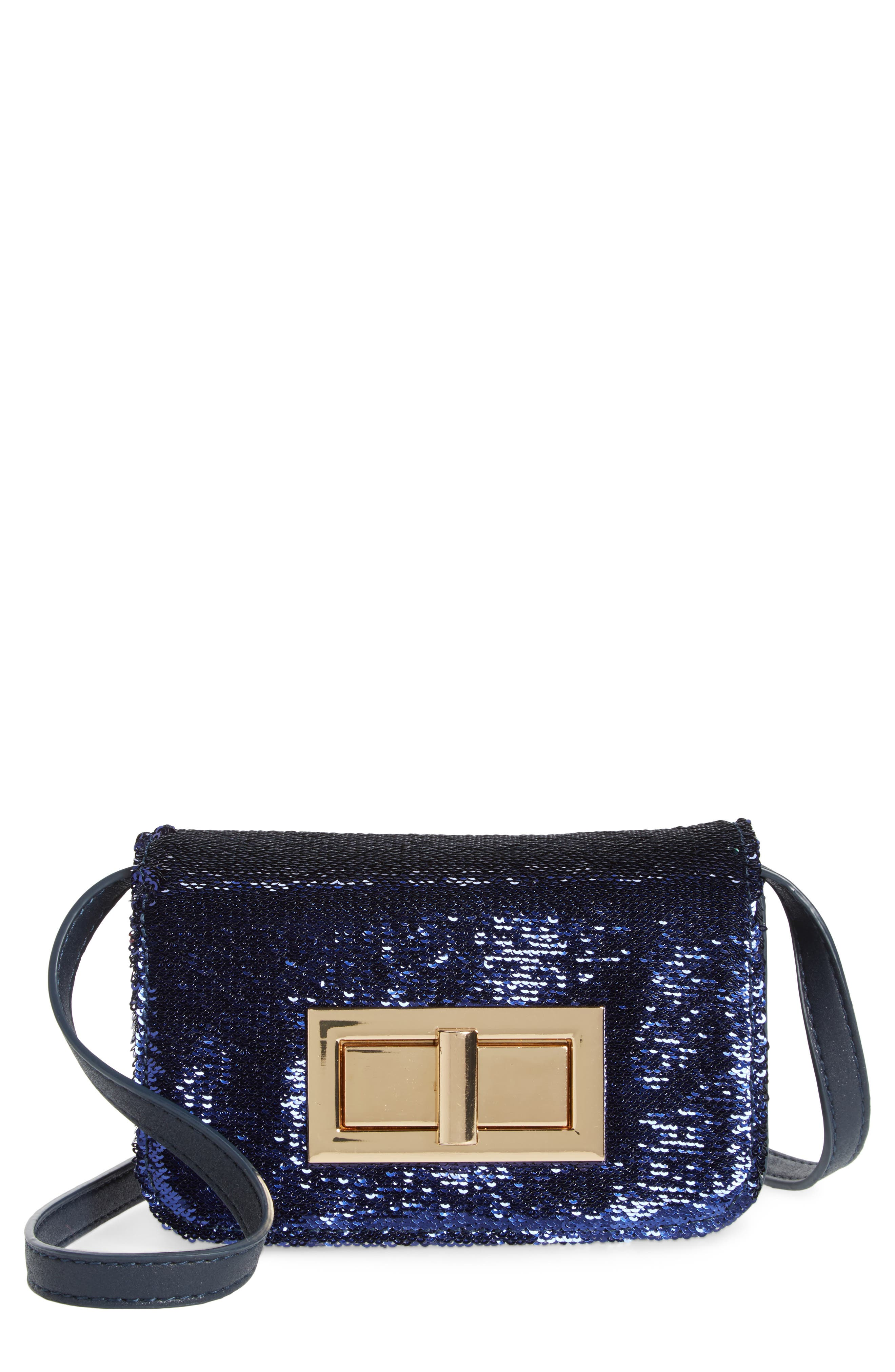 Street Level Sequin Flap Crossbody Bag