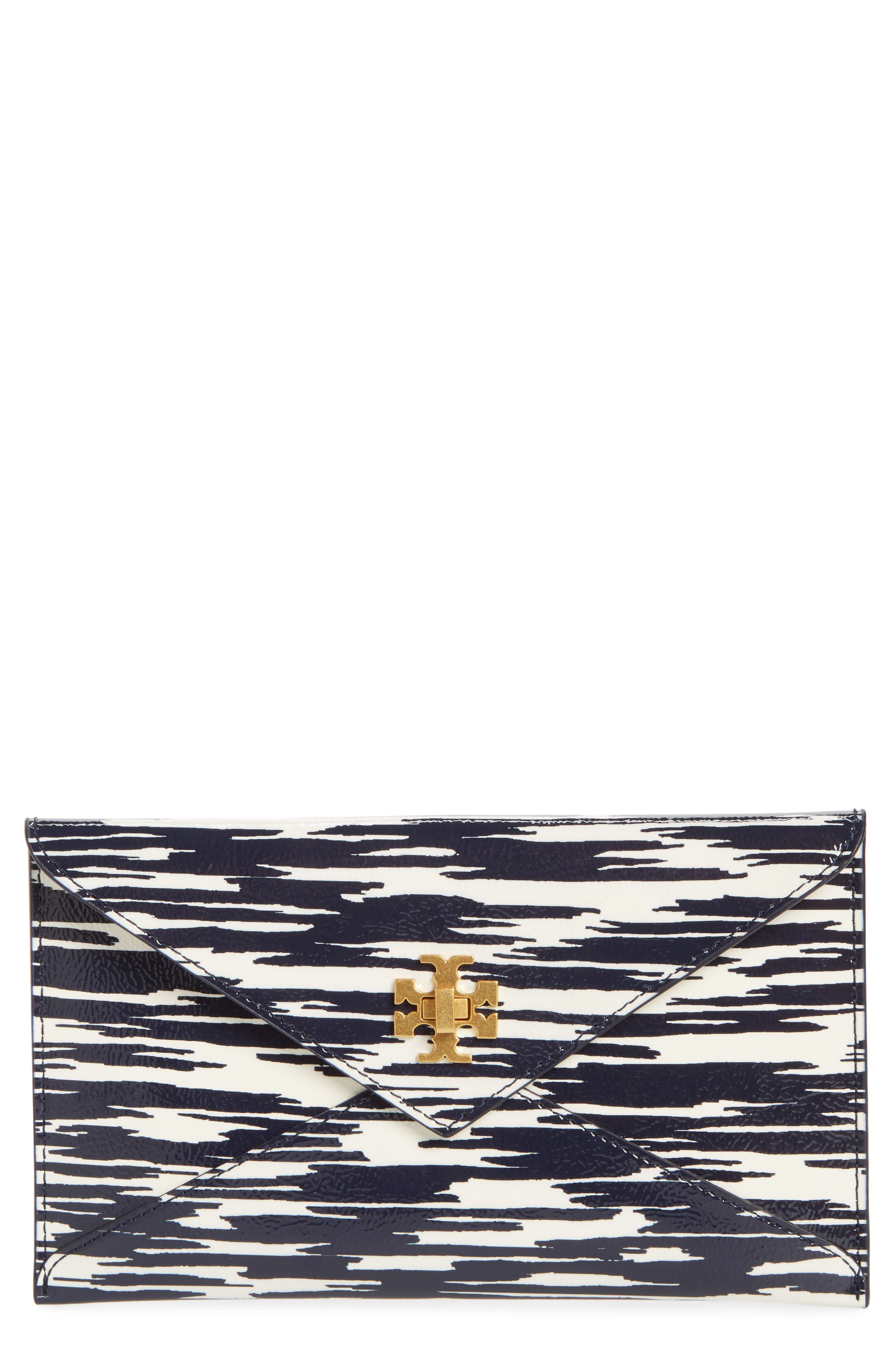 Leather Envelope Clutch,                         Main,                         color, Navy Space Dye