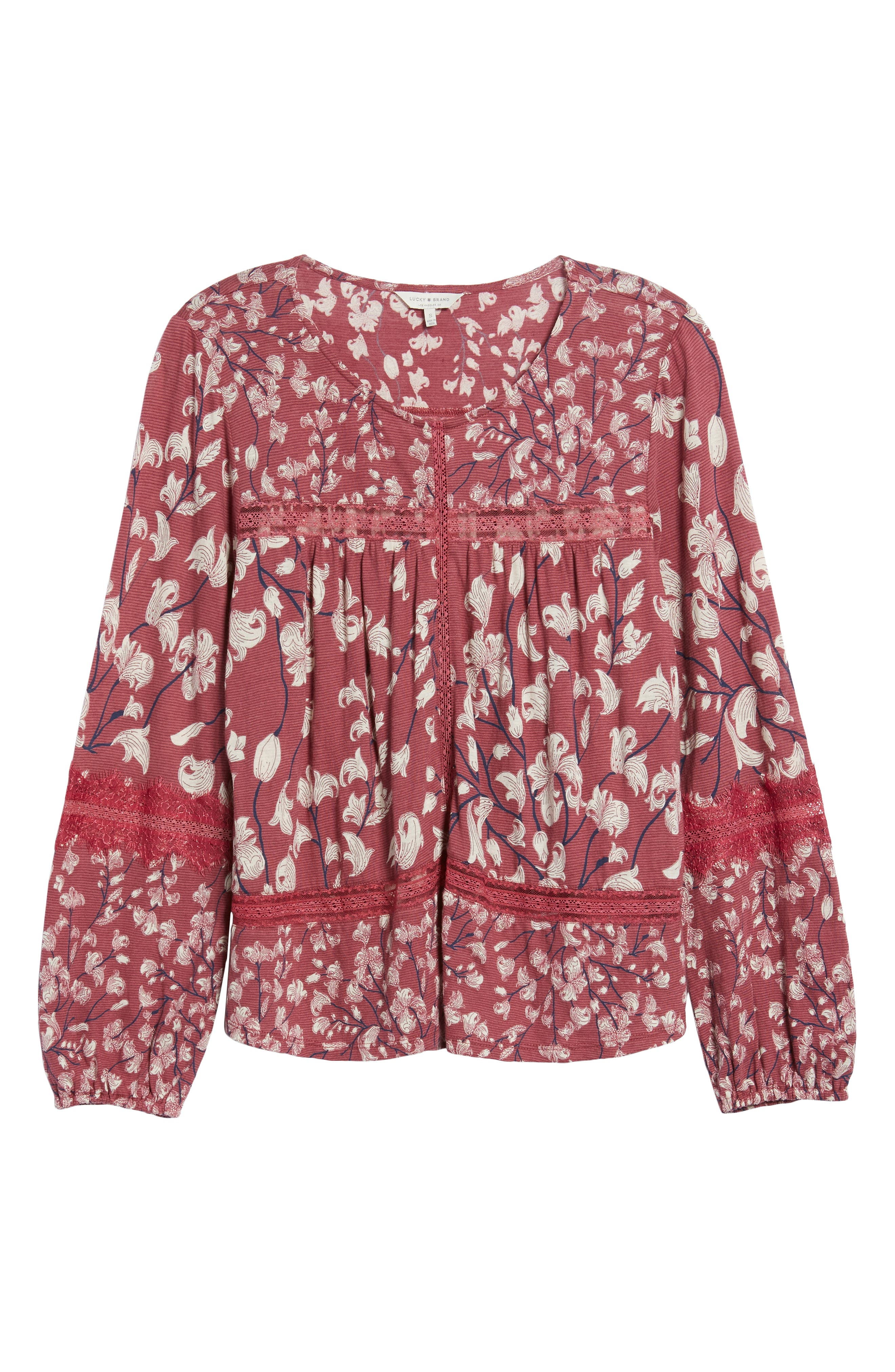 Alternate Image 6  - Lucky Brand Lace Inset Print Knit Top