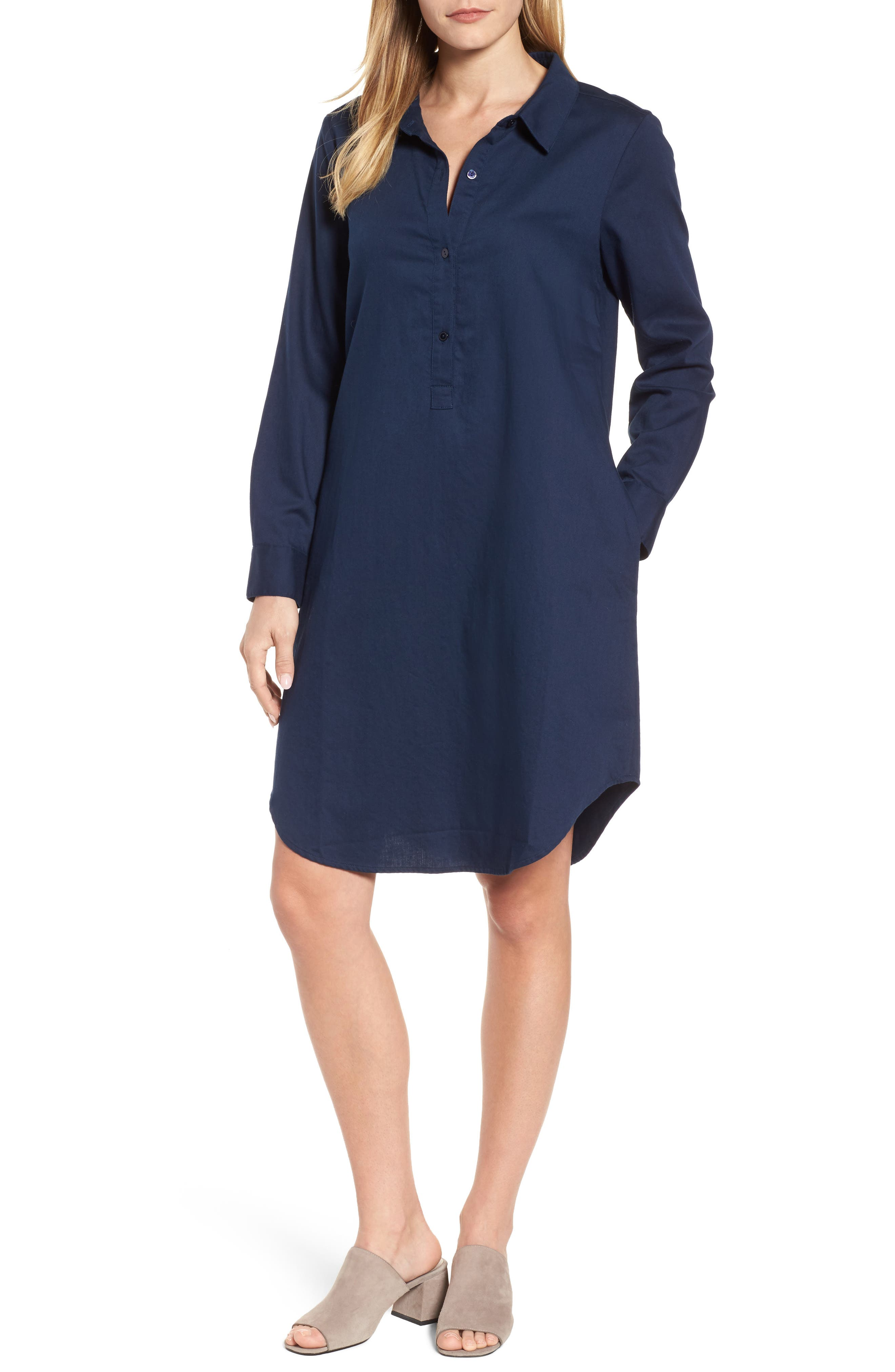 Alternate Image 1 Selected - Eileen Fisher Cotton Twill Shirtdress