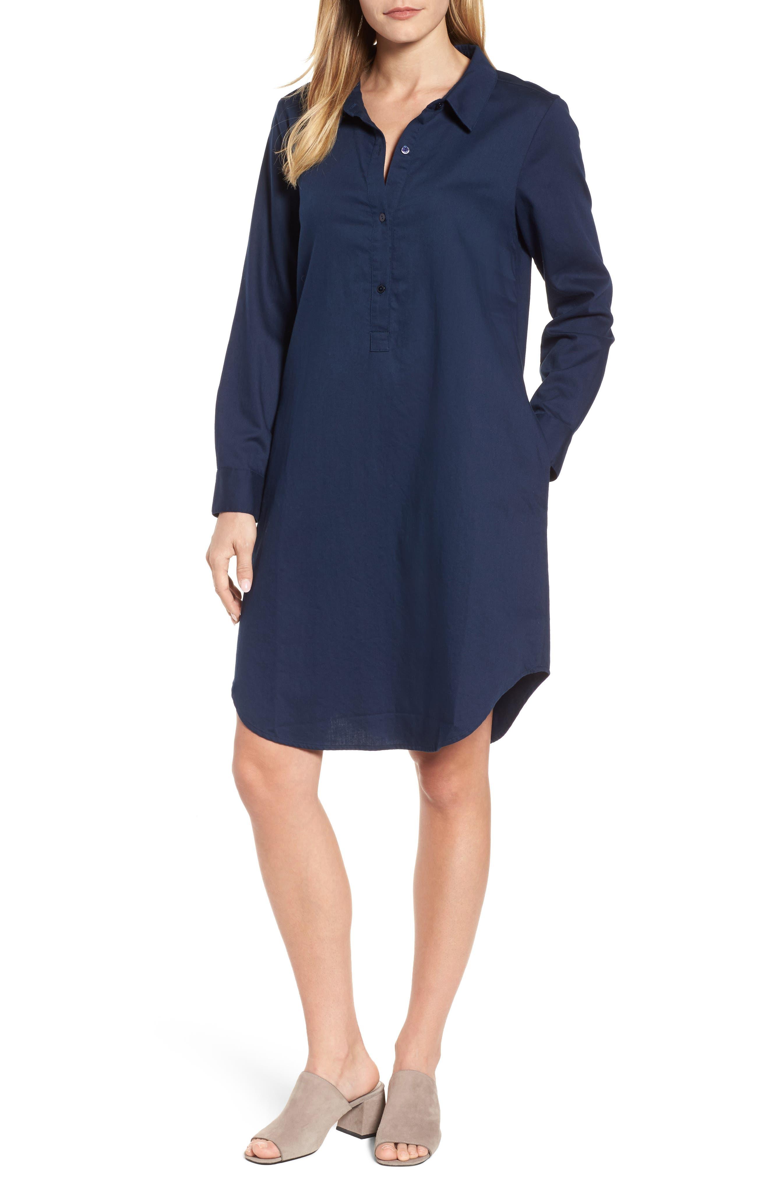 Cotton Twill Shirtdress,                         Main,                         color, Midnight