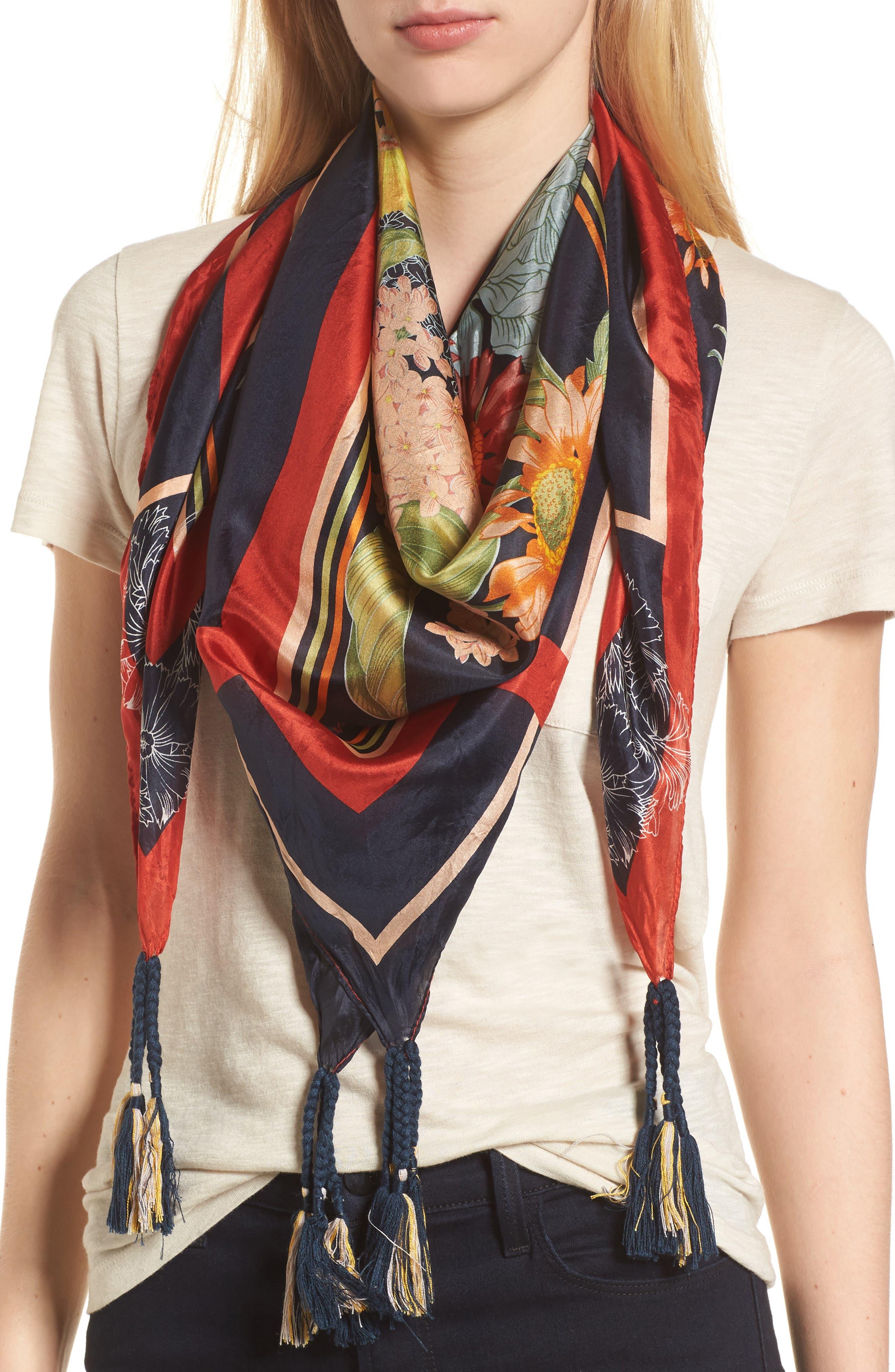 Avery Tassel Silk Square Scarf,                         Main,                         color, Multi