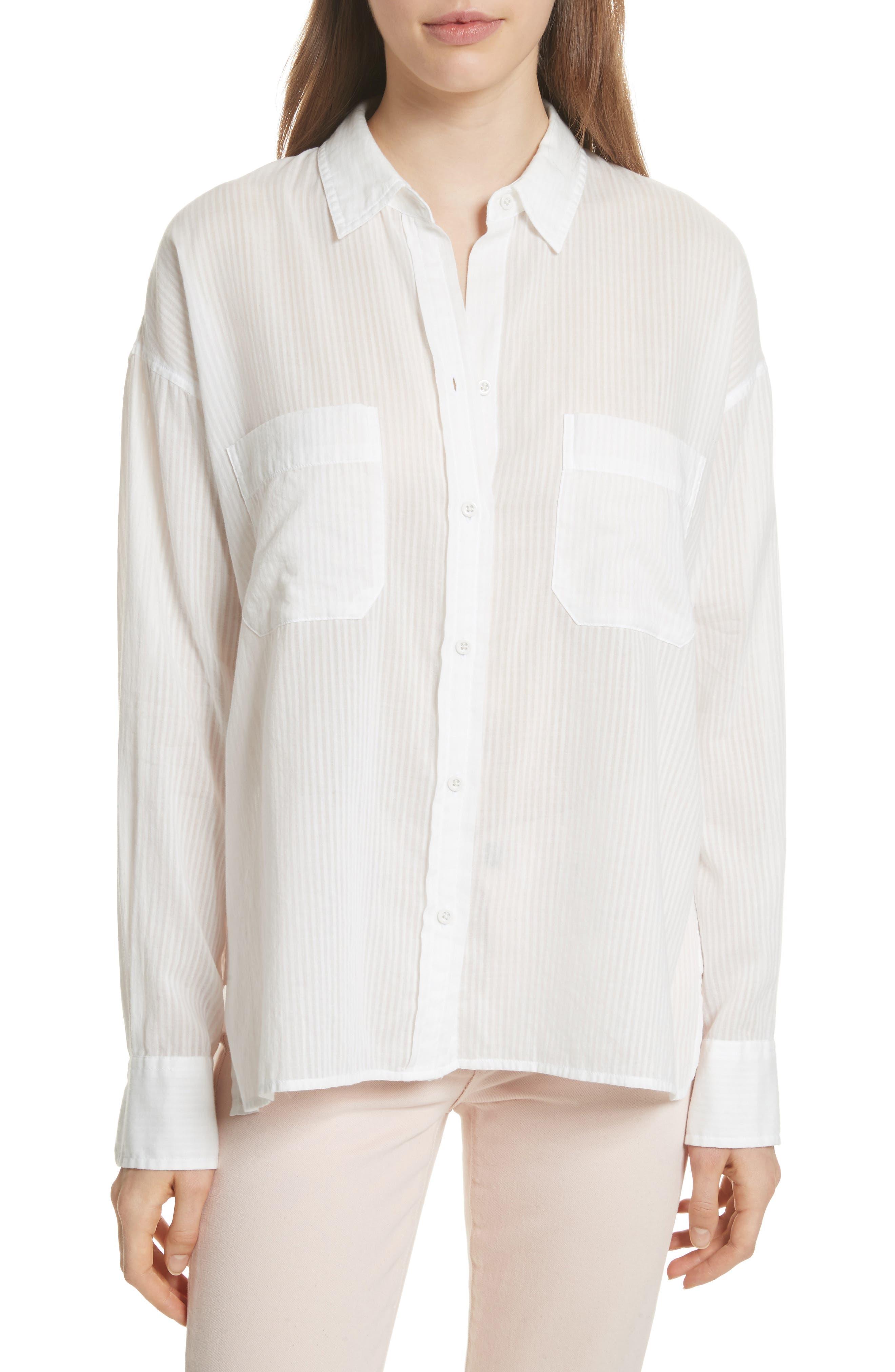 Double Pocket Blouse,                         Main,                         color, Off White