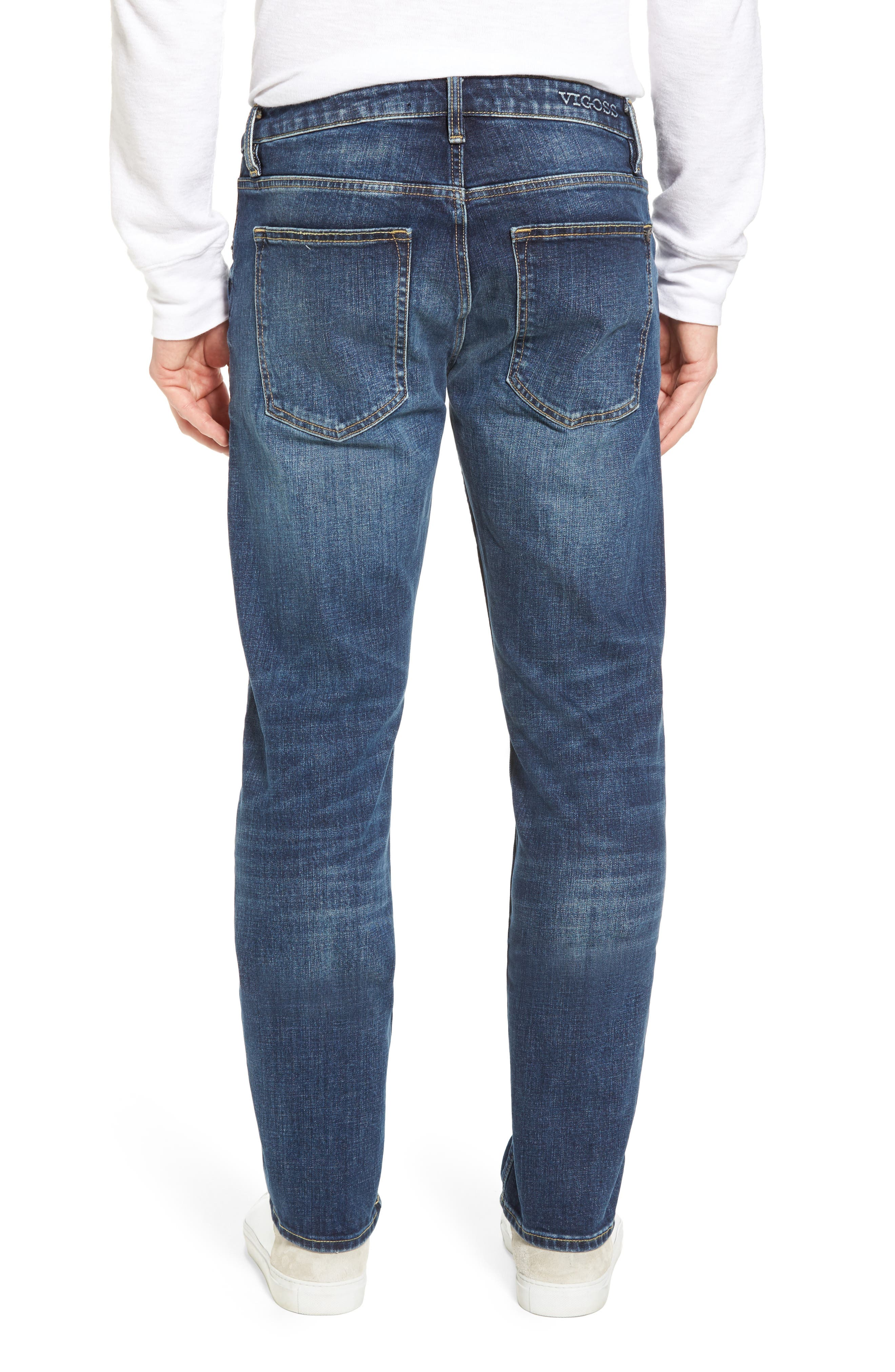 Slim Straight Leg Jeans,                             Alternate thumbnail 2, color,                             Medium Wash