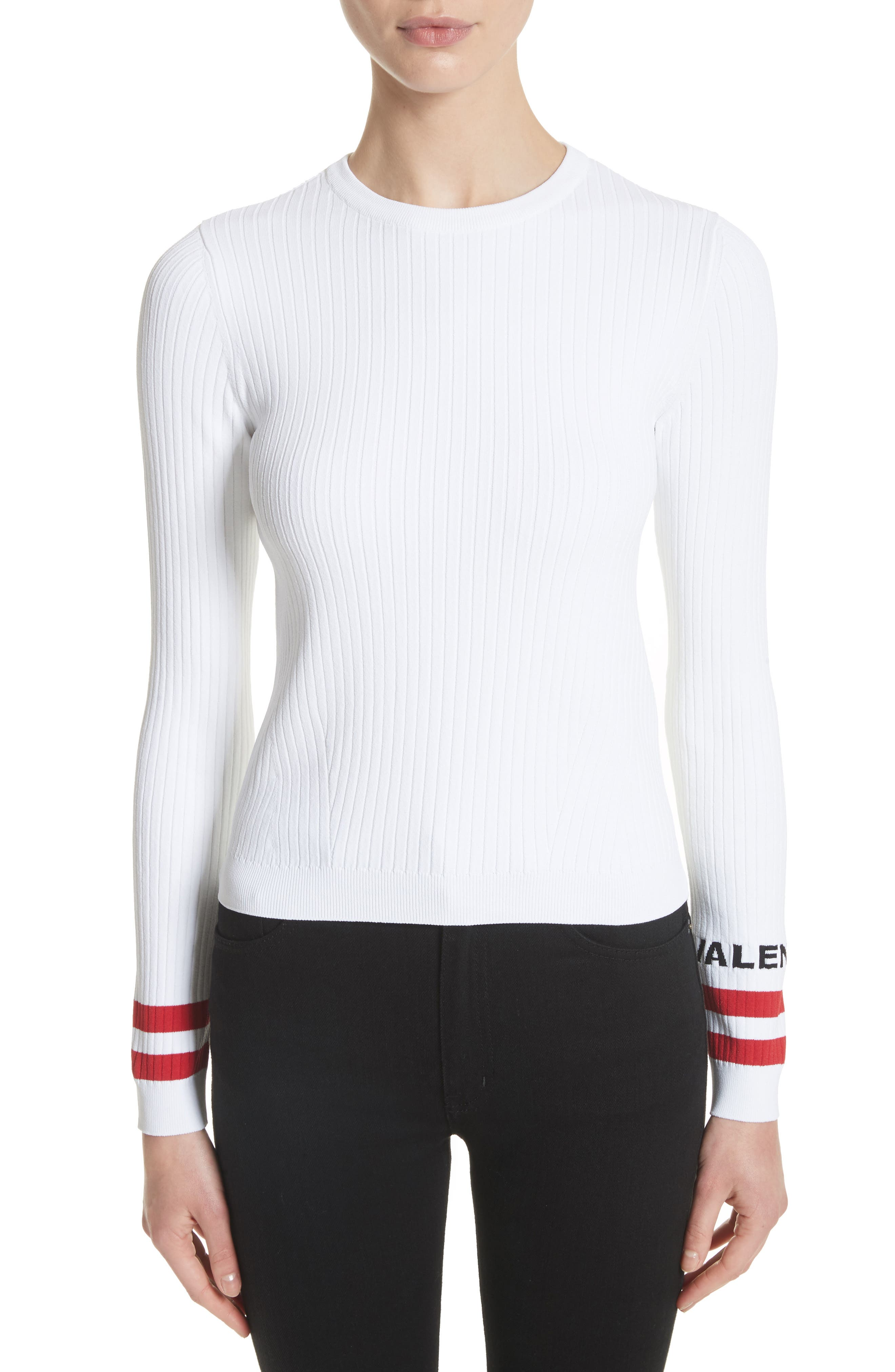 Logo Sleeve Knit Top,                         Main,                         color, White