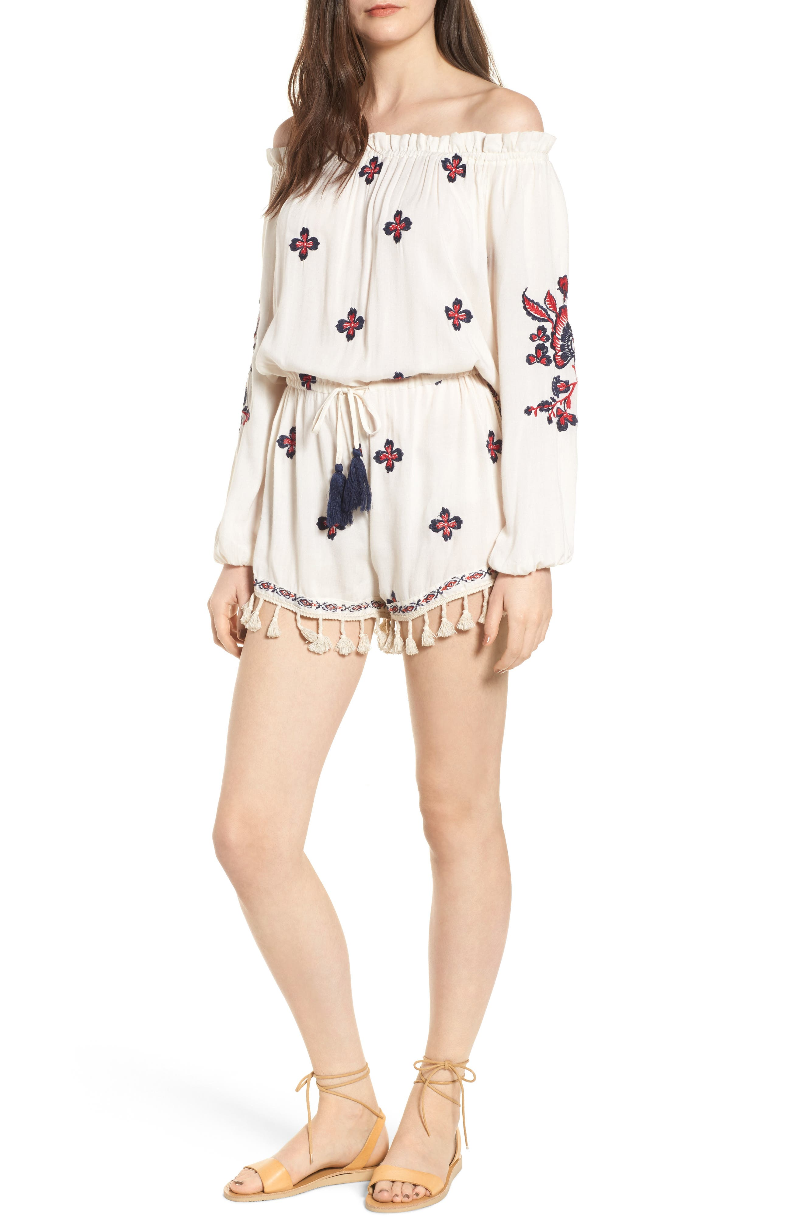 Tessi Embroidered Off the Shoulder Romper,                         Main,                         color, Sugar Cookie