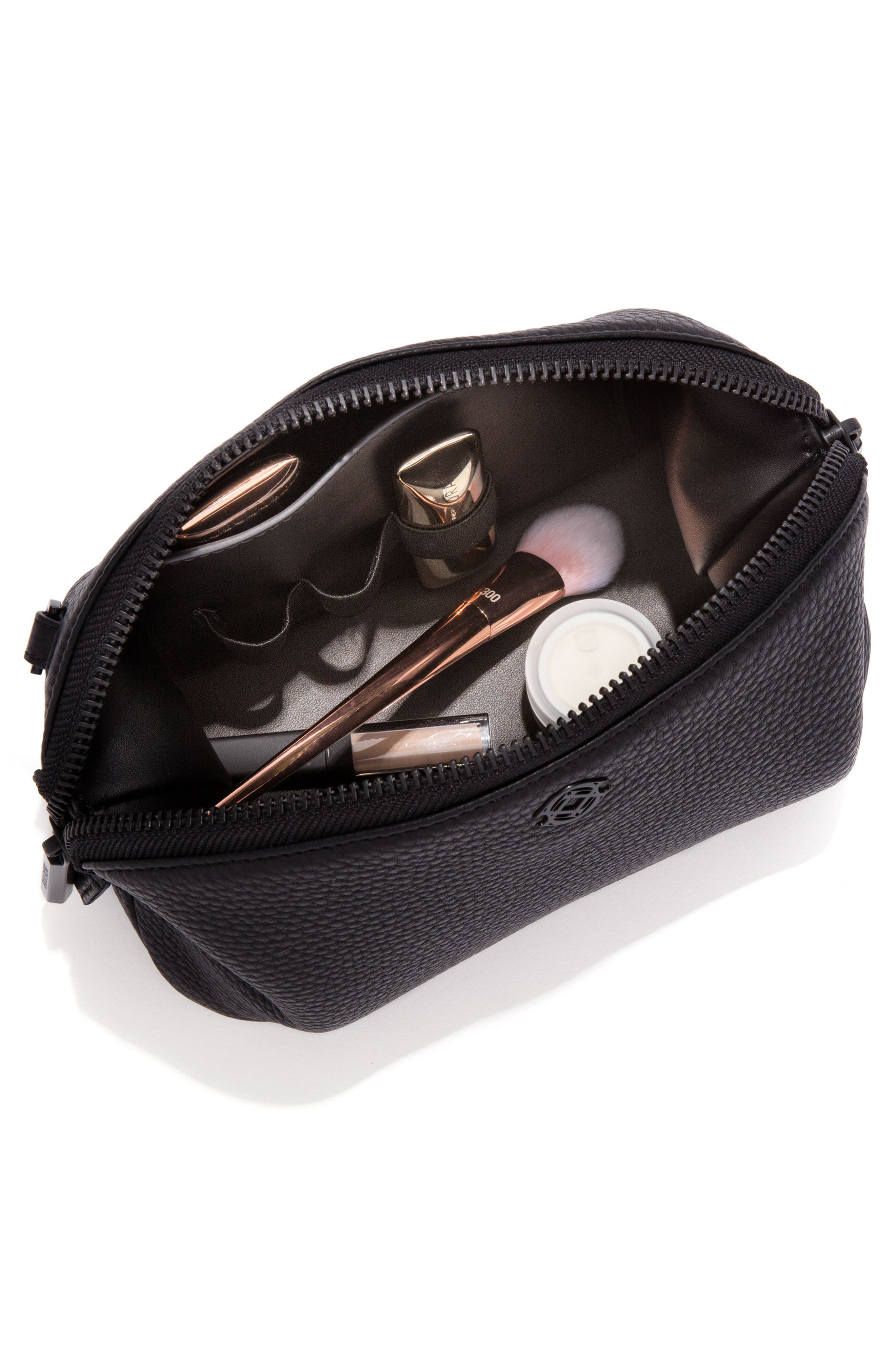 Large Lola Leather Cosmetics Pouch,                             Alternate thumbnail 2, color,                             Onyx