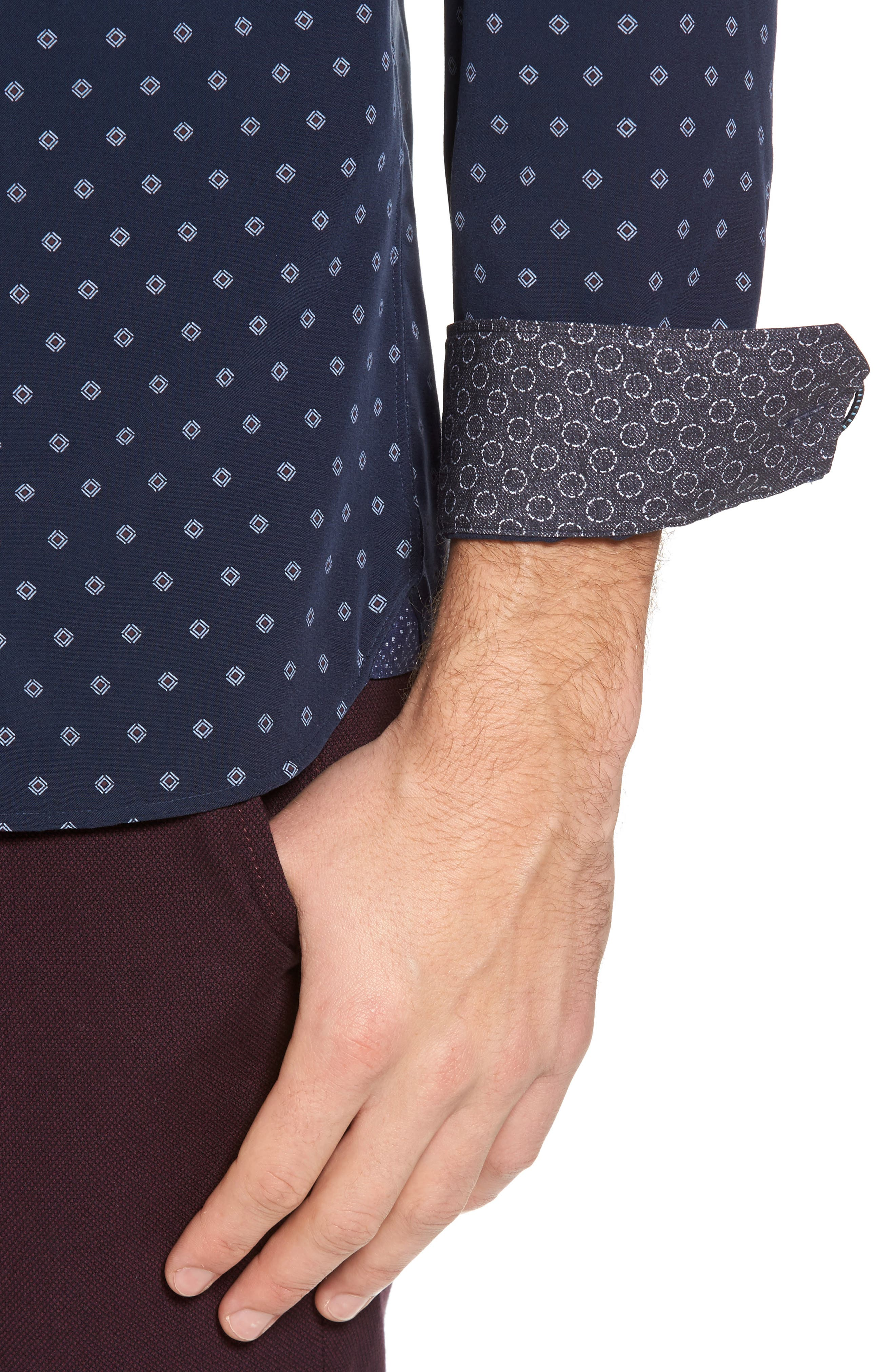 Ilensky Micro Diamond Trim Sport Shirt,                             Alternate thumbnail 2, color,                             Navy