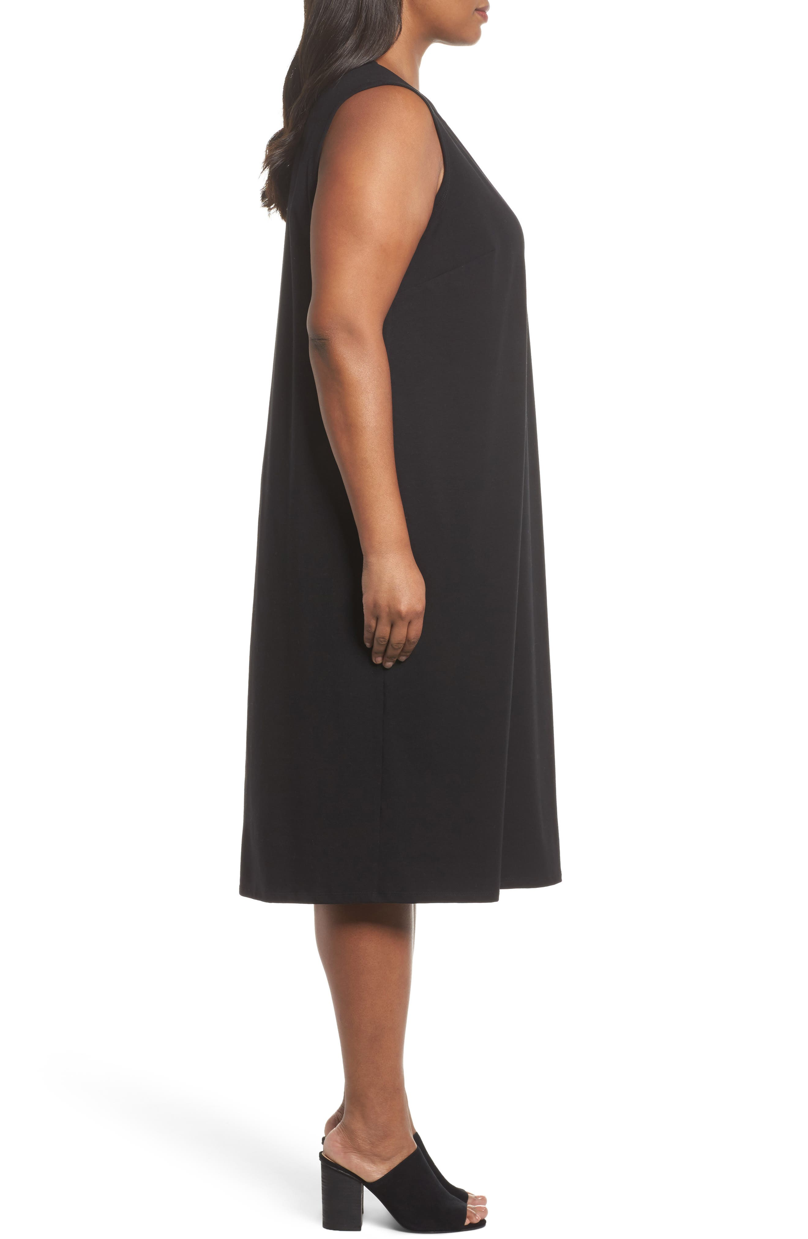Stretch Organic Cotton Jersey Shift Dress,                             Alternate thumbnail 3, color,                             Black