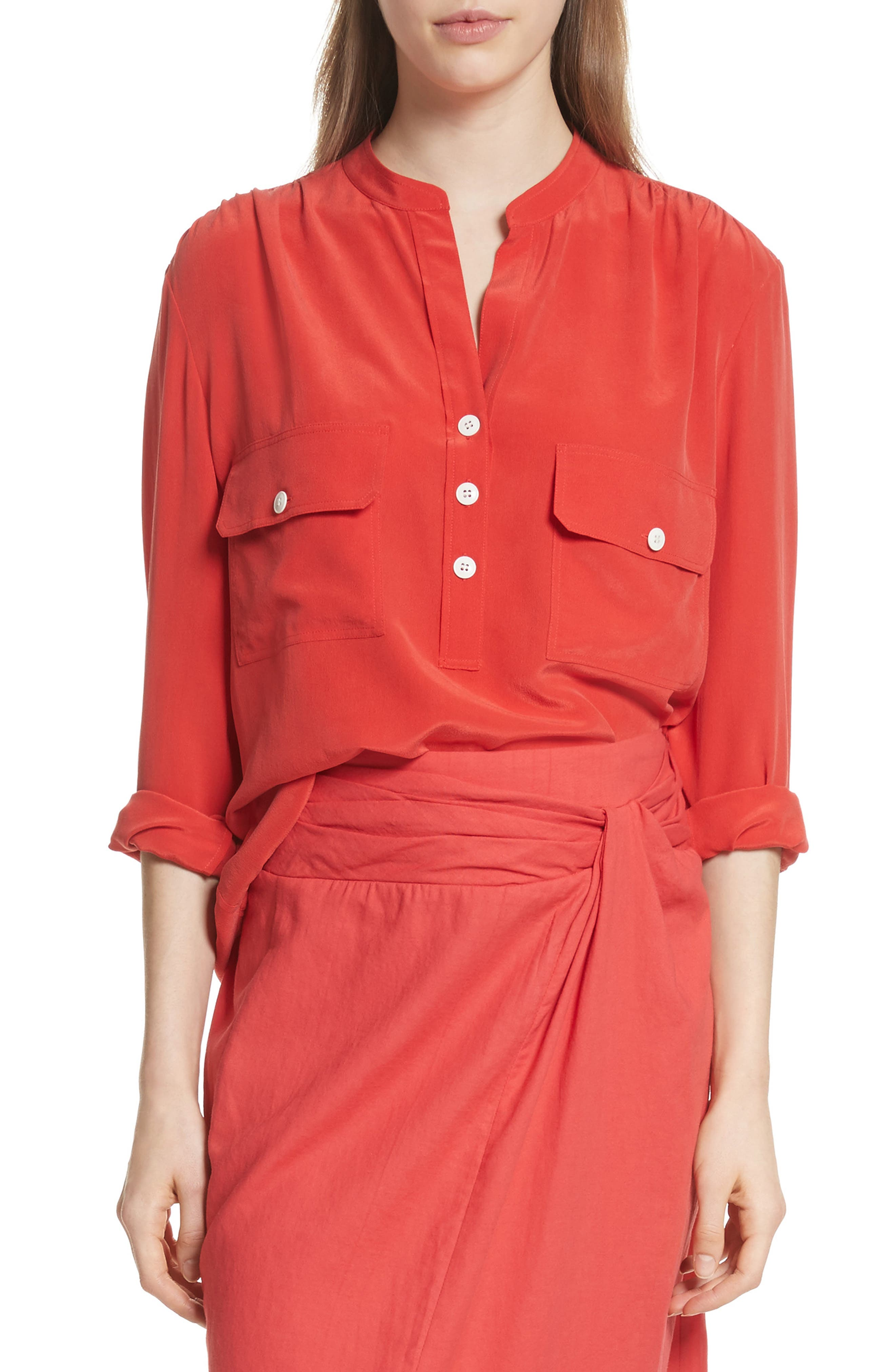 Utility Silk Blouse,                         Main,                         color, Poppy