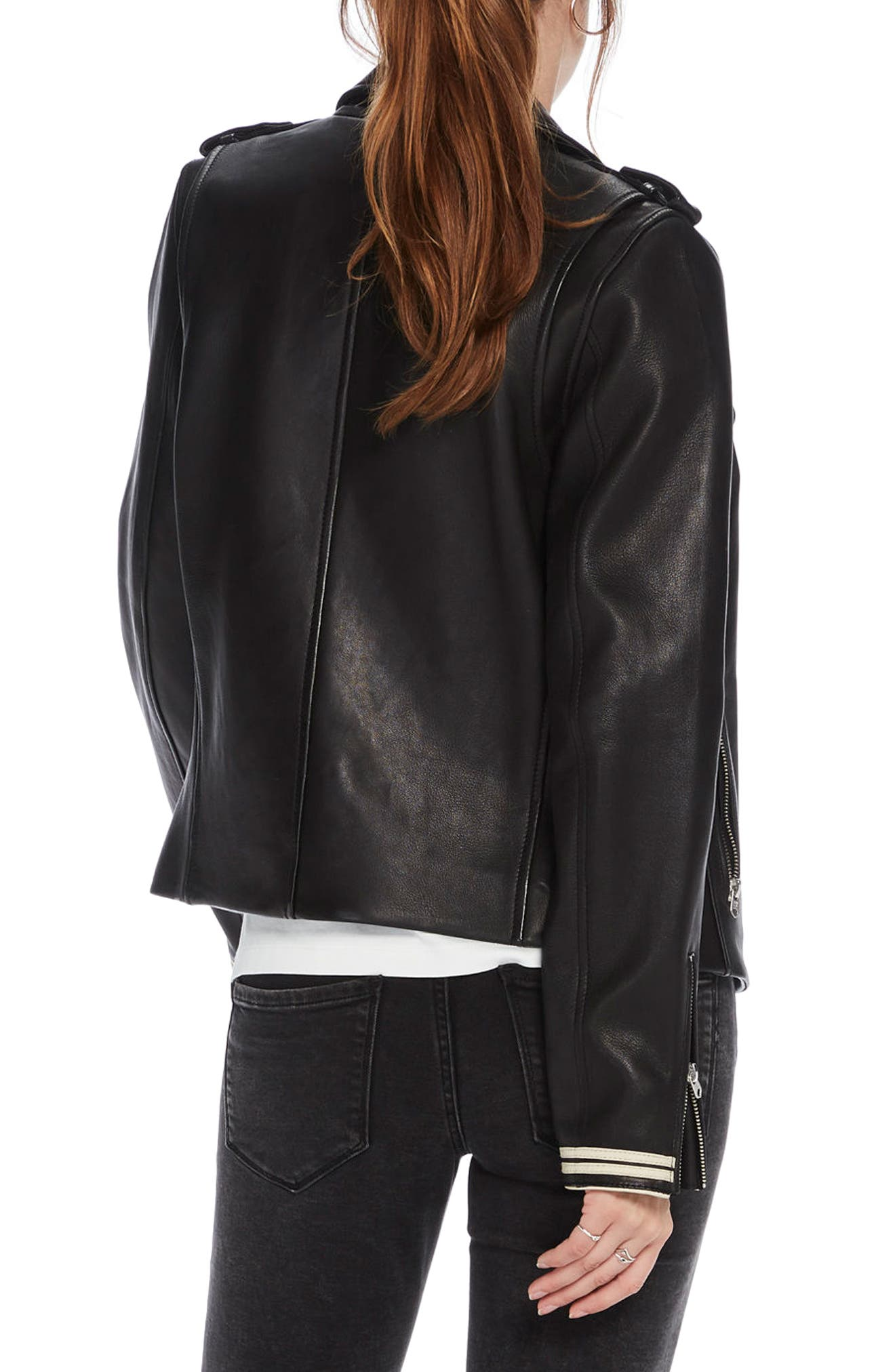 Leather Biker Jacket,                             Alternate thumbnail 2, color,                             Black