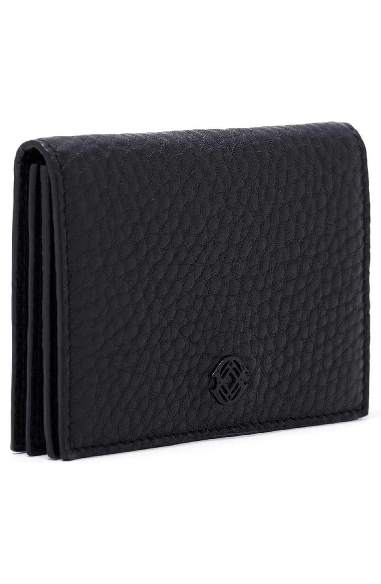 Accordion Leather Card Case,                             Alternate thumbnail 4, color,                             Onyx