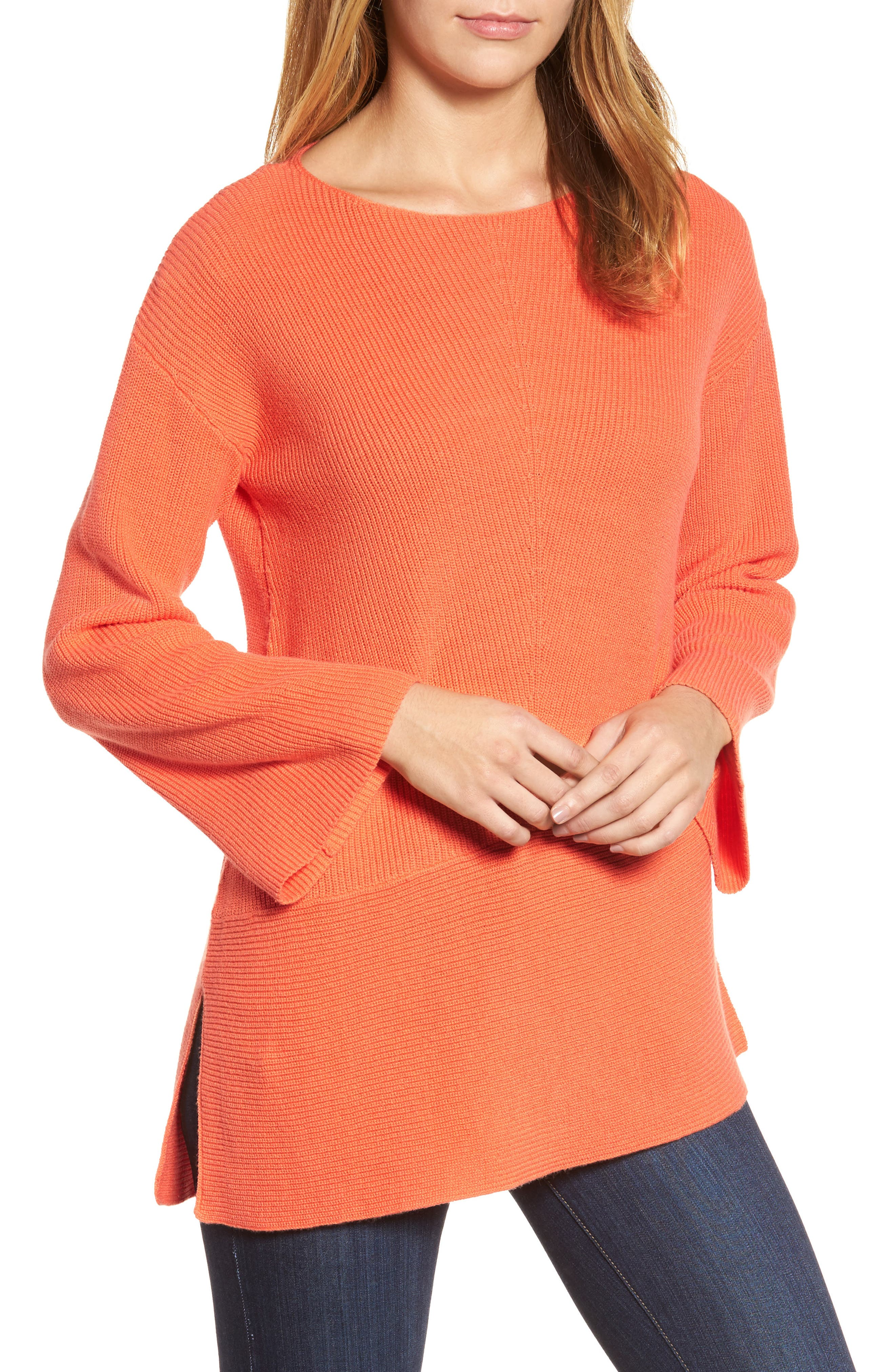 Chaus Ribbed Asymmetrical Hem Sweater