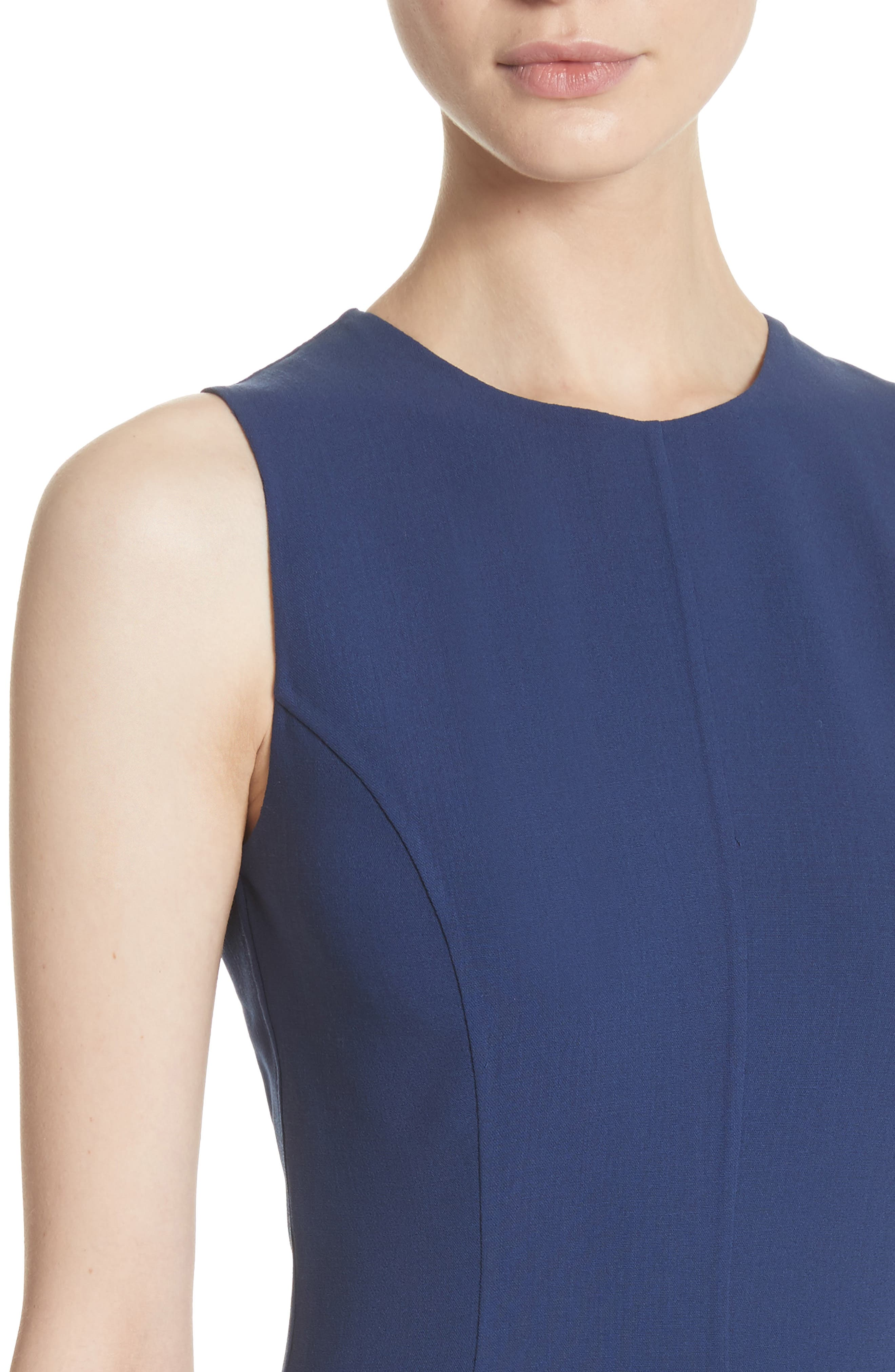 Stretch Wool Bell Dress,                             Alternate thumbnail 4, color,                             Sapphire