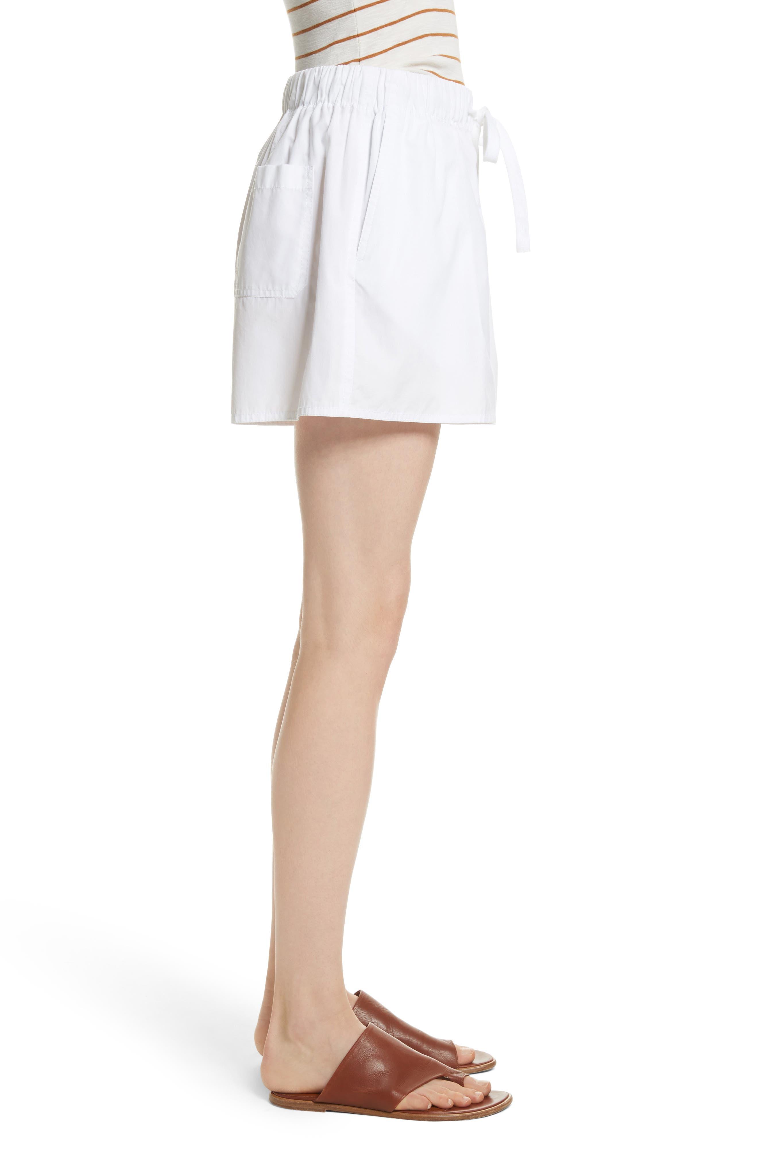 Drawstring Cotton Shorts,                             Alternate thumbnail 3, color,                             White