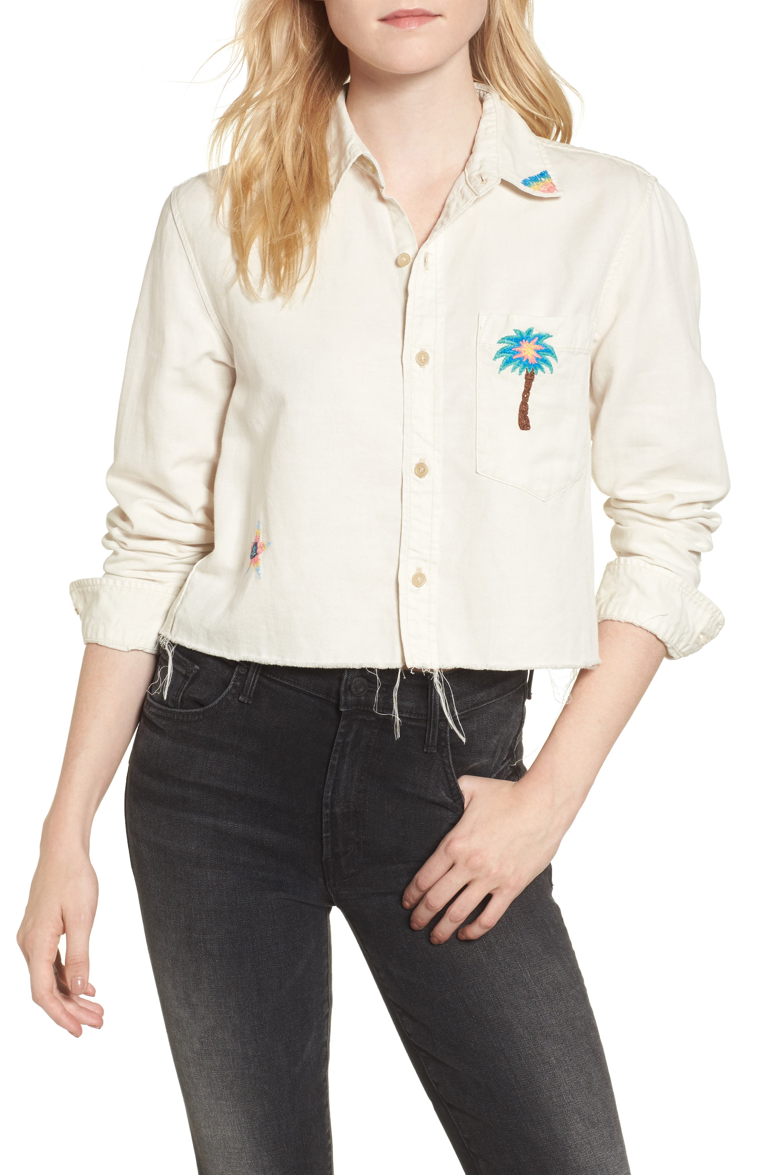 MOTHER Frenchie Crop Frayed Shirt