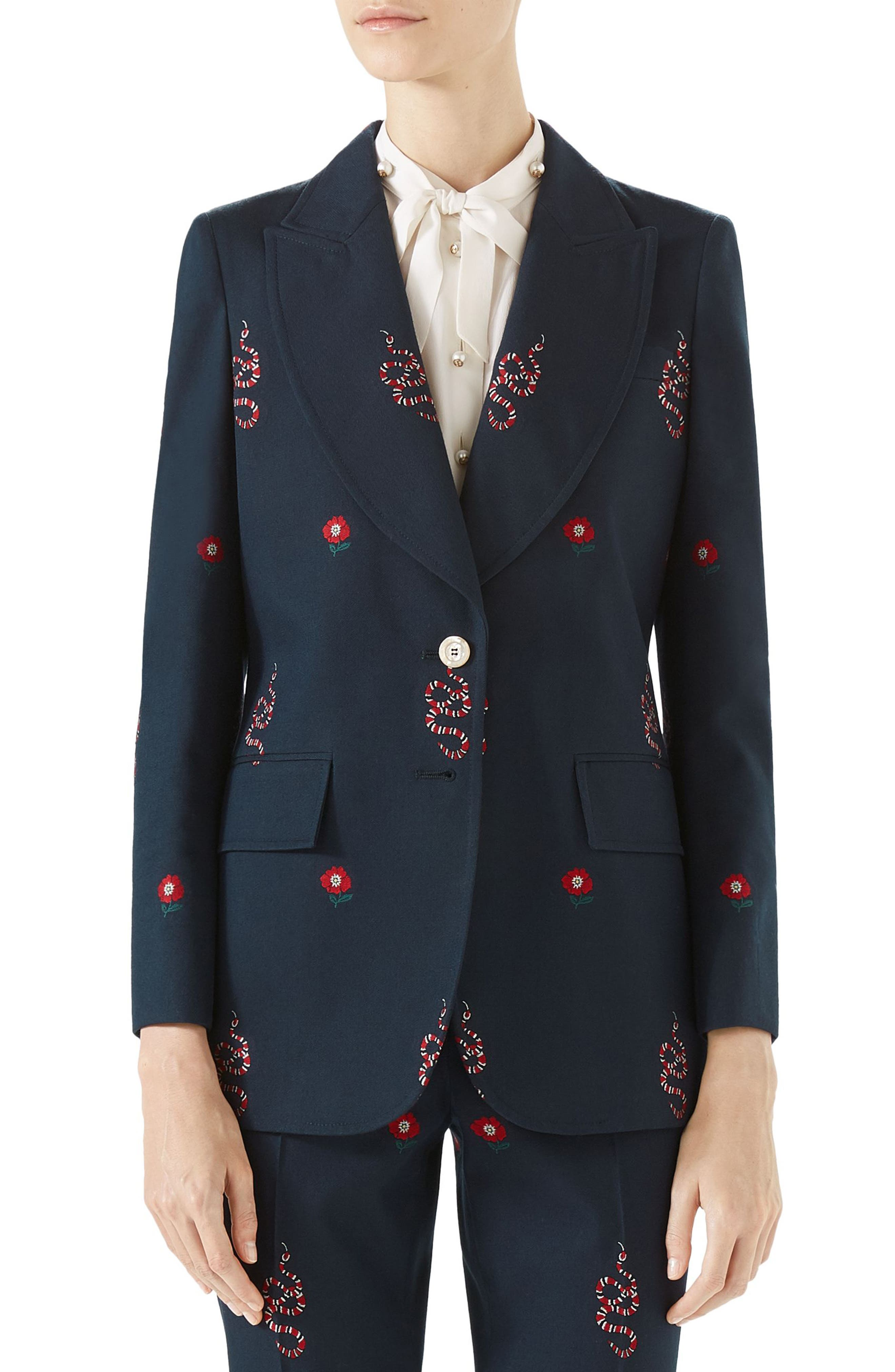 Snake Embroidered Cotton Blazer,                             Main thumbnail 1, color,                             Ink/ Hibiscus Red/ Multi