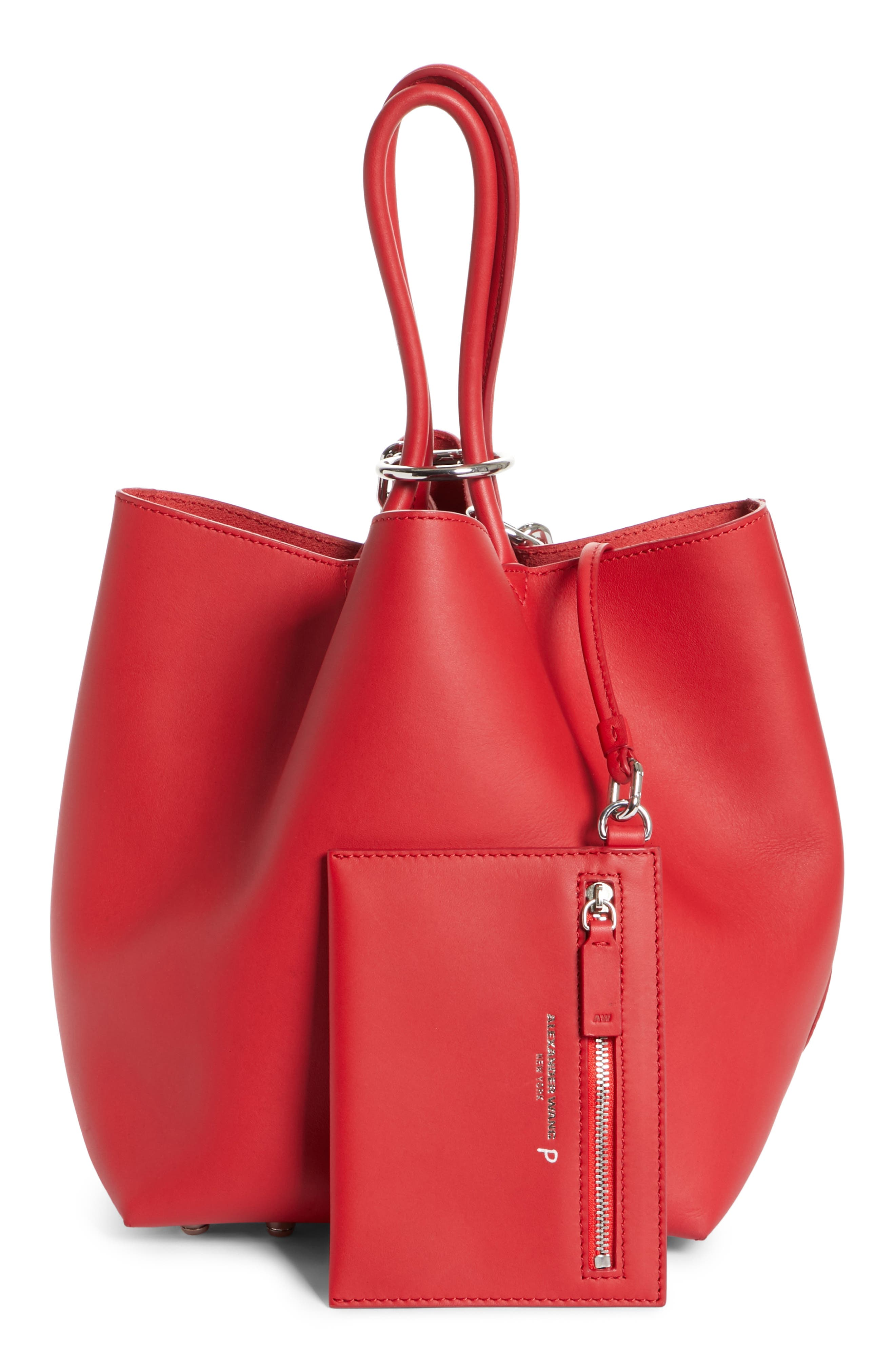 Small Roxy Leather Bucket Bag,                             Alternate thumbnail 3, color,                             Lipstick