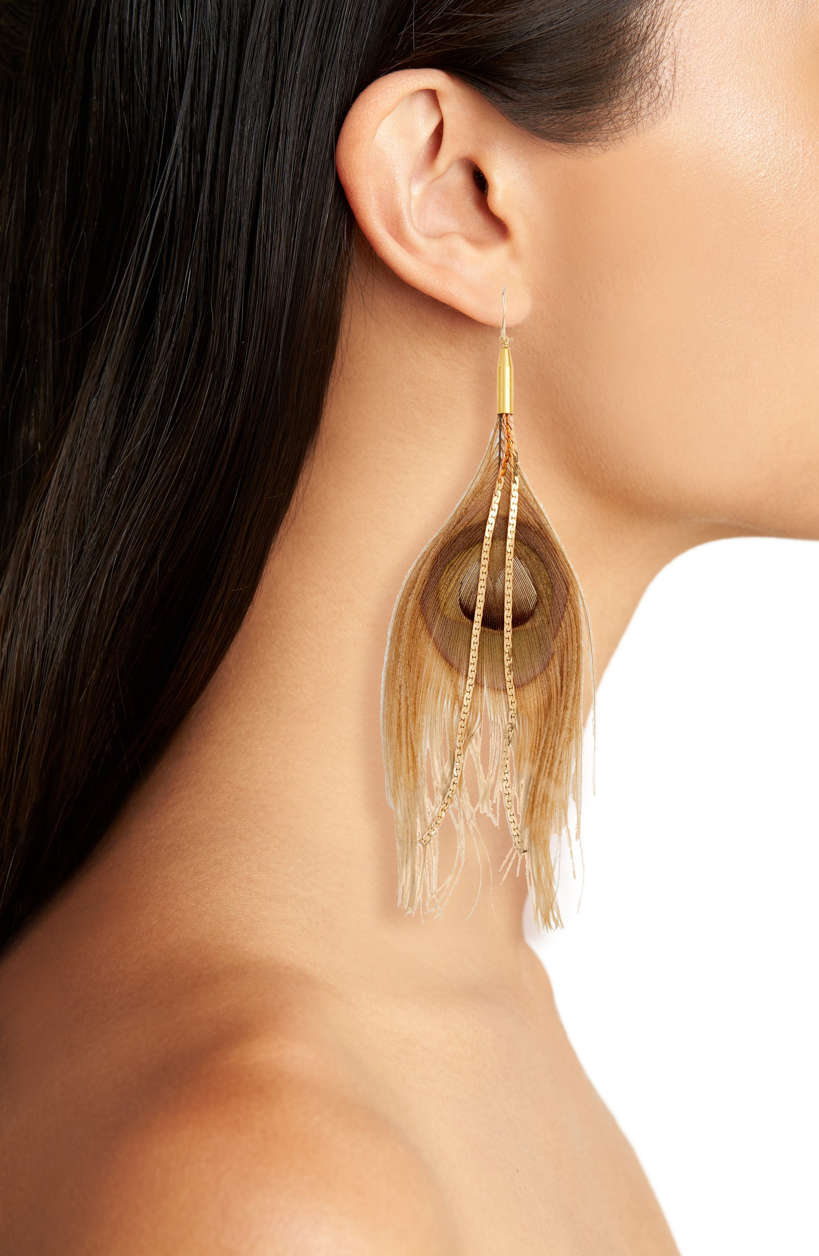 Peacock Feather Earrings,                             Alternate thumbnail 2, color,                             Beige