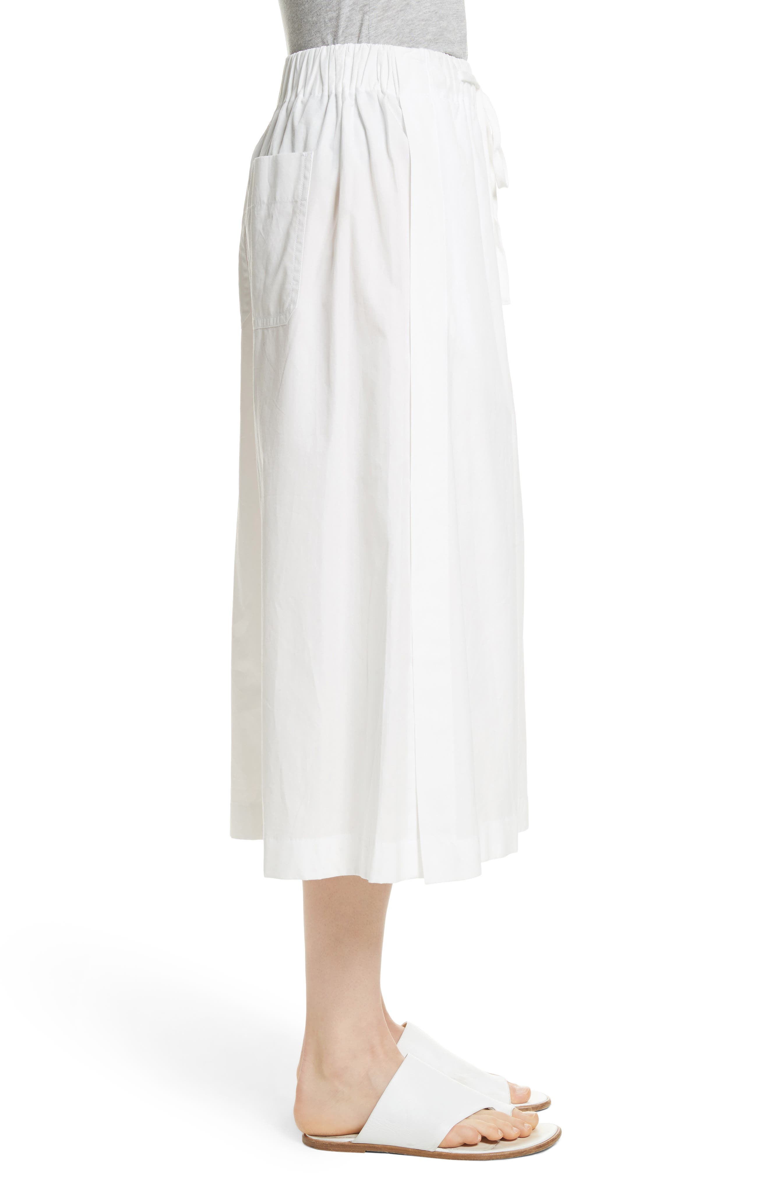 Side Slit Culottes,                             Alternate thumbnail 3, color,                             White
