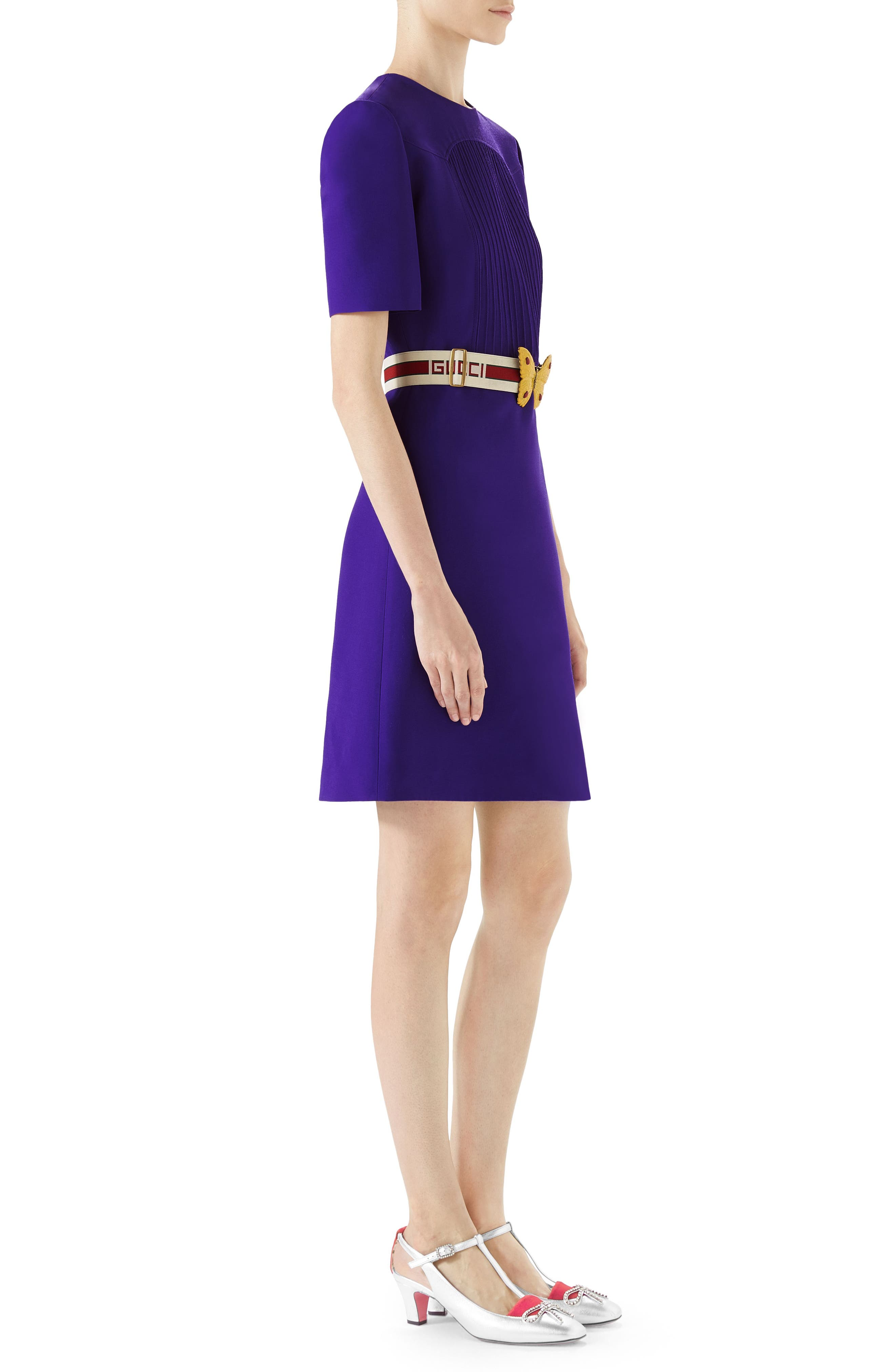 Belted Pintuck Cady Crepe Dress,                             Alternate thumbnail 3, color,                             Bright Purple