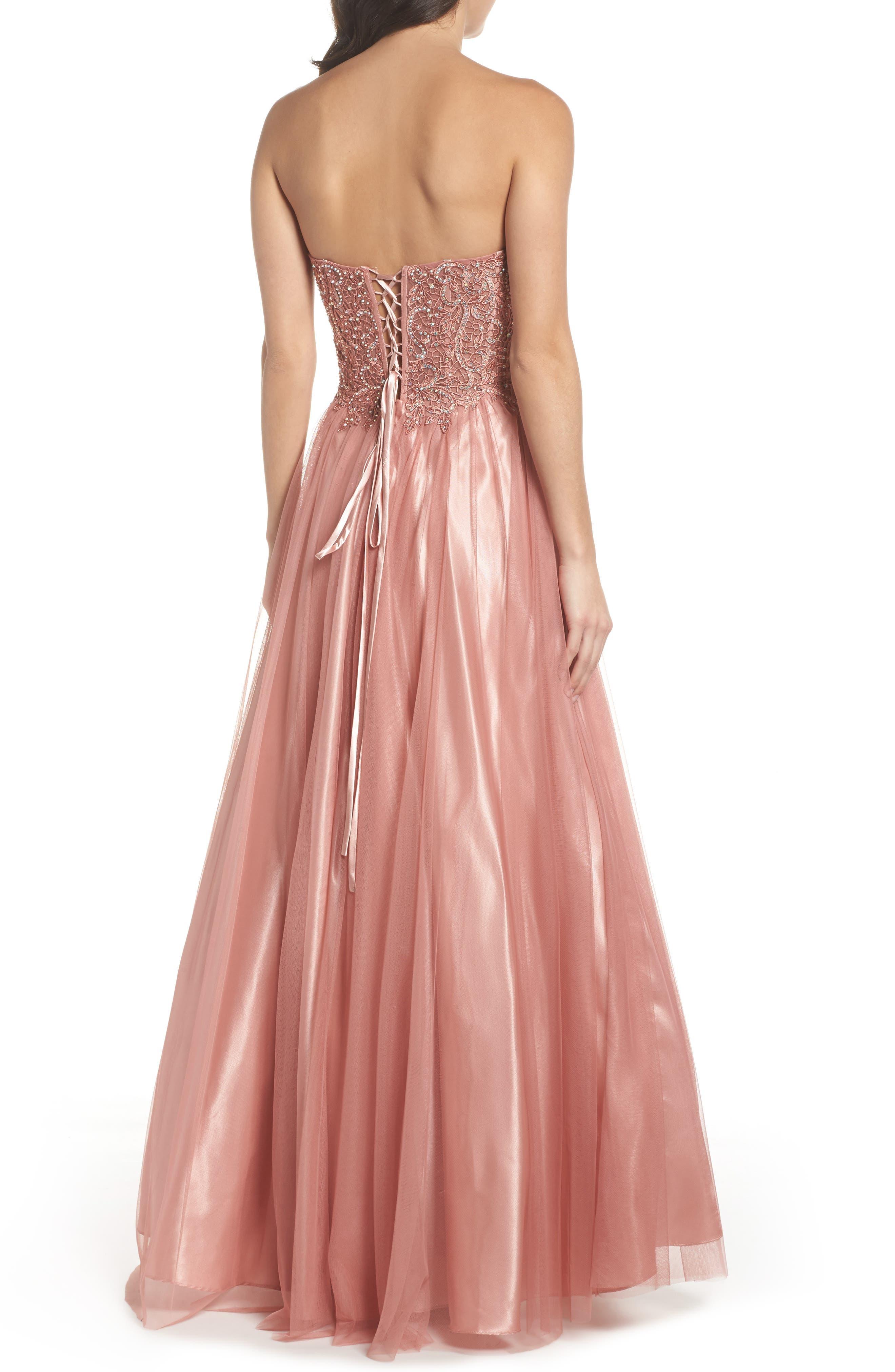 Embellished Corset Ballgown,                             Alternate thumbnail 2, color,                             Rose