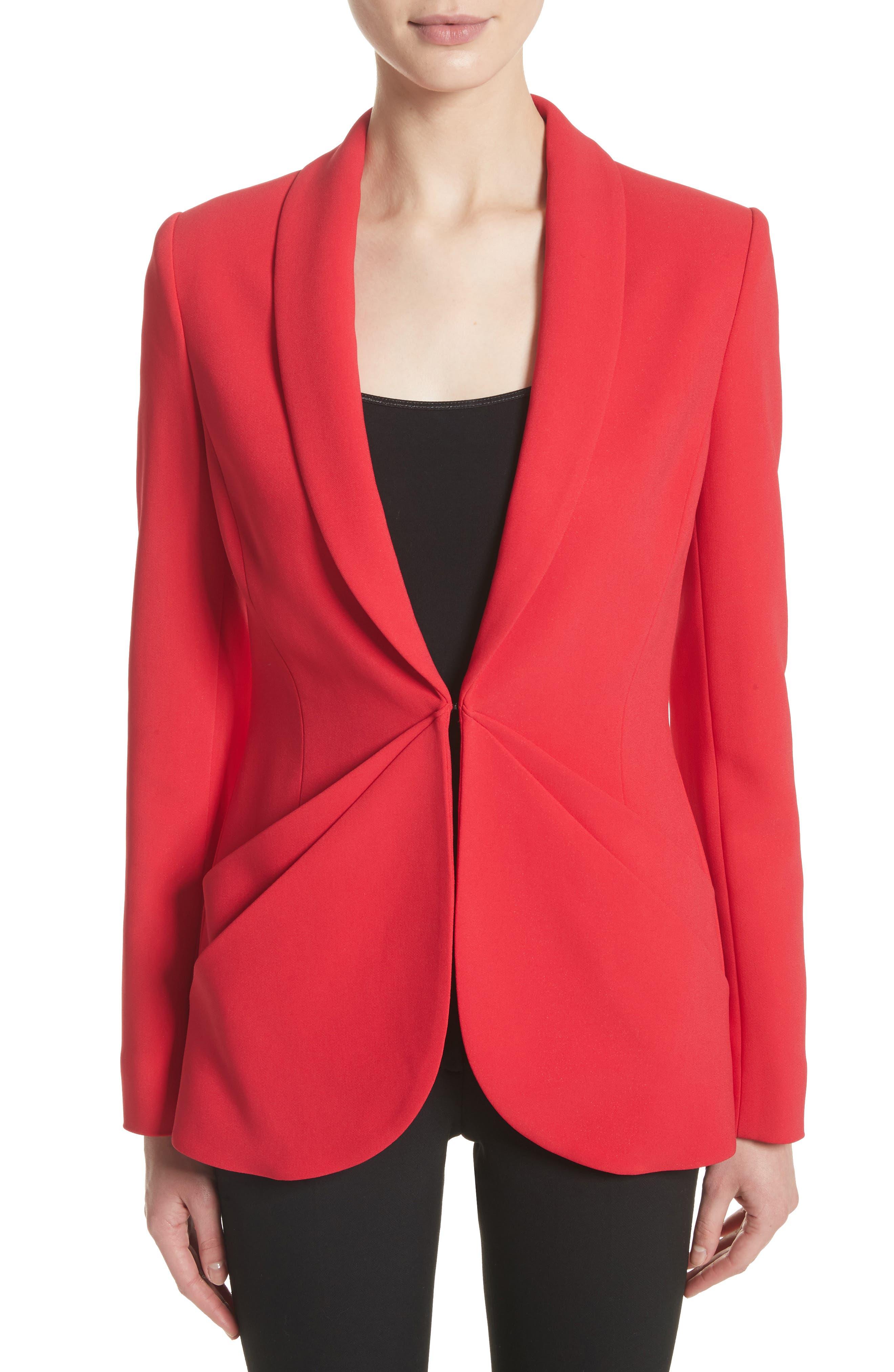 Drape Pocket Crepe Jacket,                             Main thumbnail 1, color,                             Red