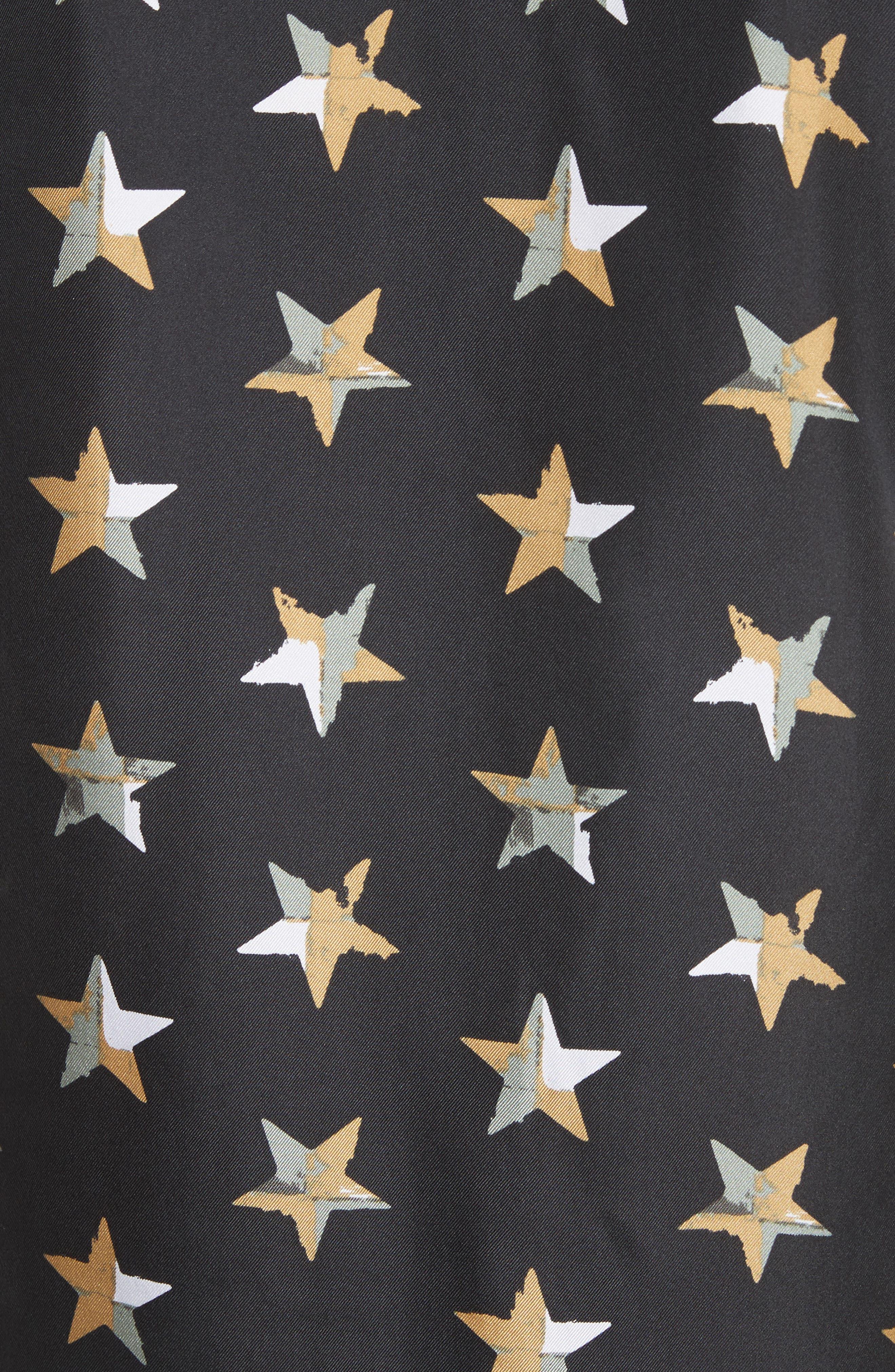 Brett Star Print Silk Shirtdress,                             Alternate thumbnail 5, color,                             True Black Multi