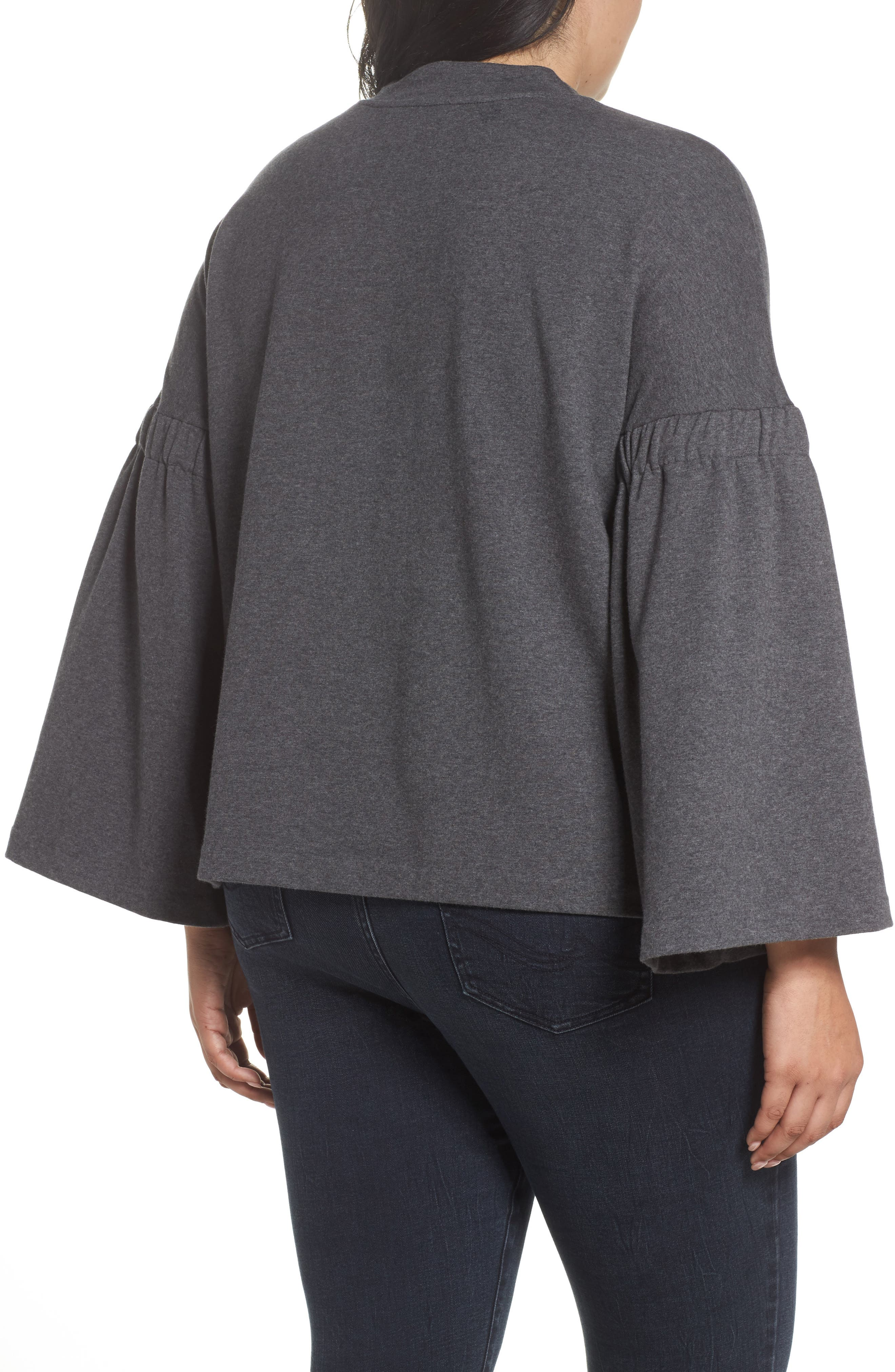 Bell Sleeve Top,                             Alternate thumbnail 2, color,                             Med Heather Grey